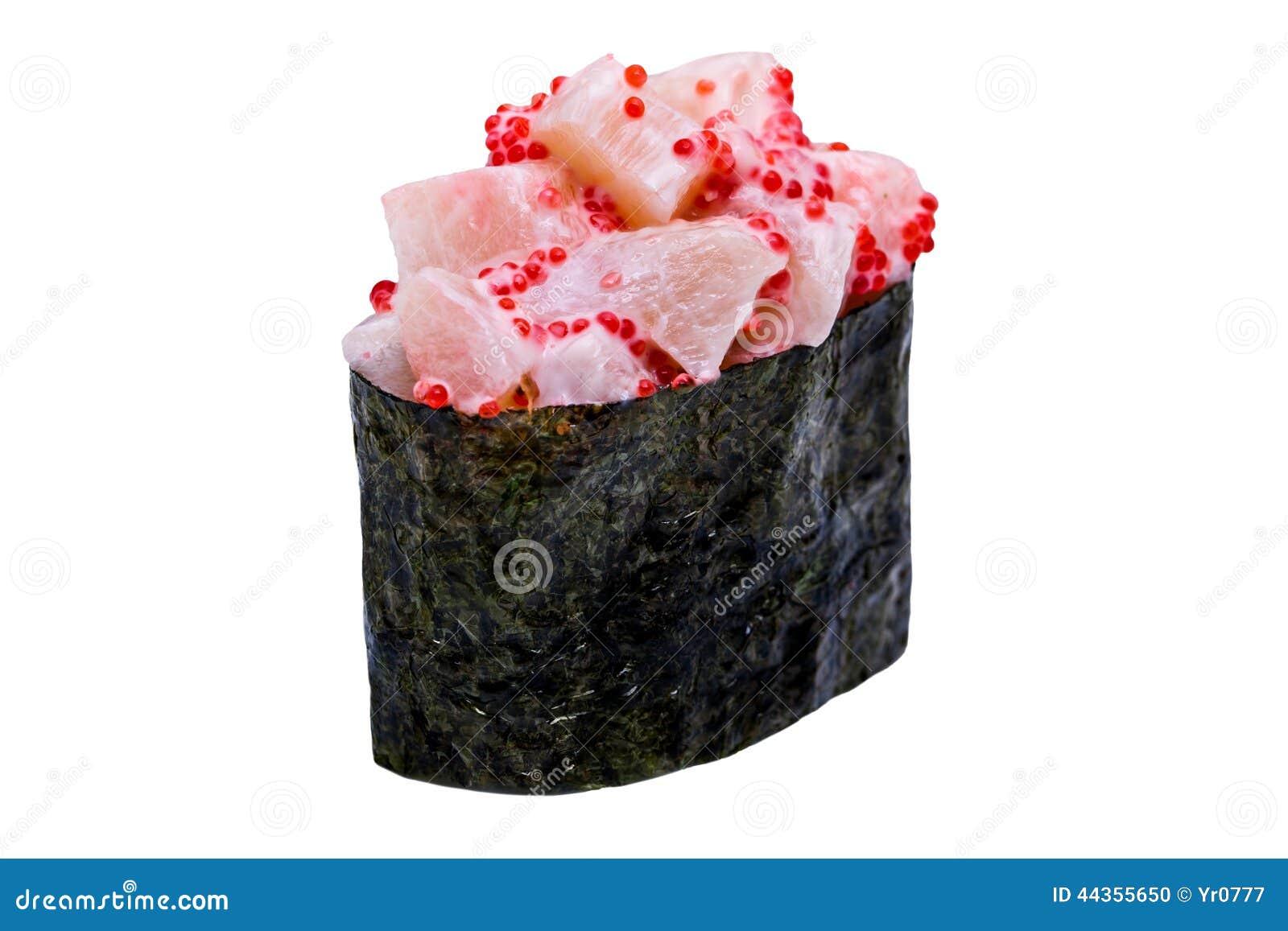 I sushi in nori coprono di foglie isolato su fondo bianco