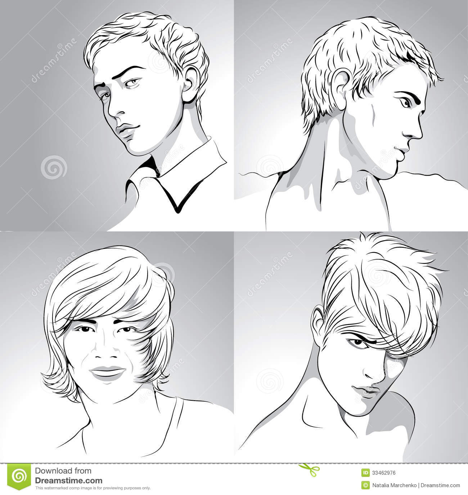 Quattro tagli di capelli degli uomini disegnati a mano