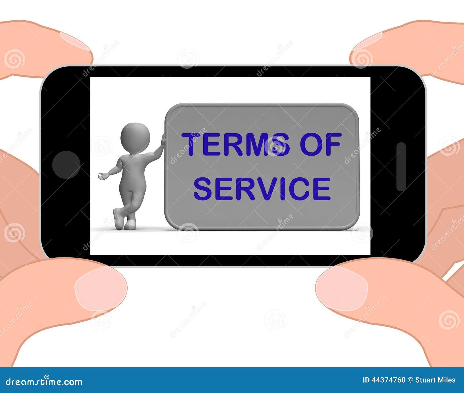 I termini del telefono di servizio mostra l accordo ed il contratto per uso