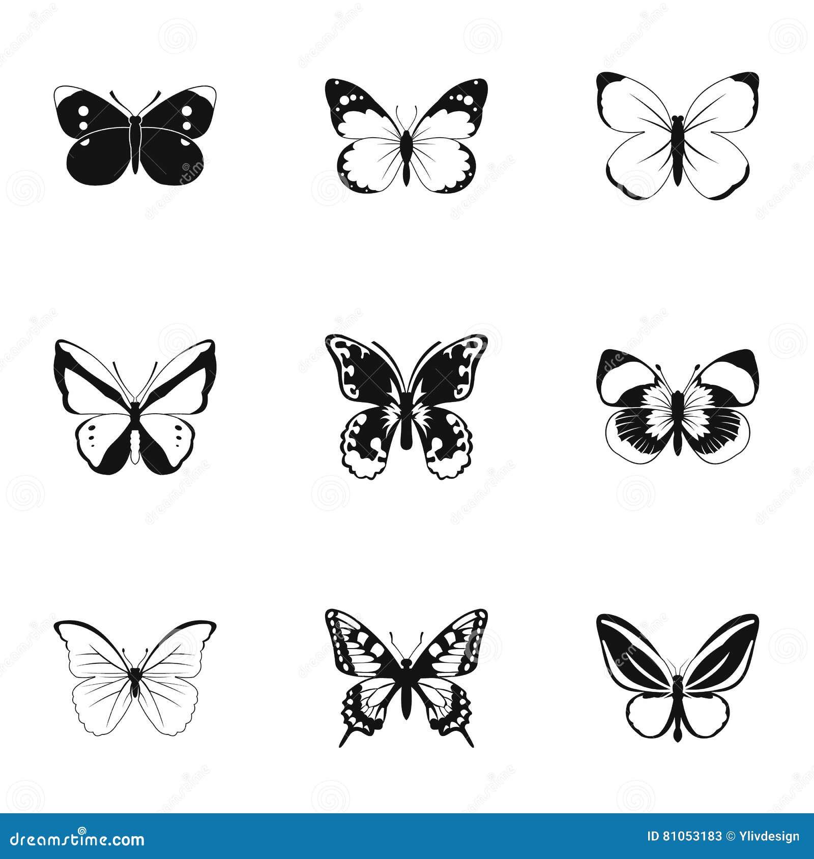 I tipi di icone delle farfalle hanno messo stile semplice for Tipi di stile
