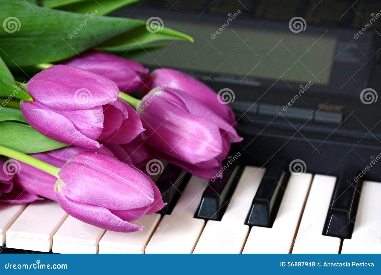 I tulipani rosa sono sul sintetizzatore o sul piano della tastiera