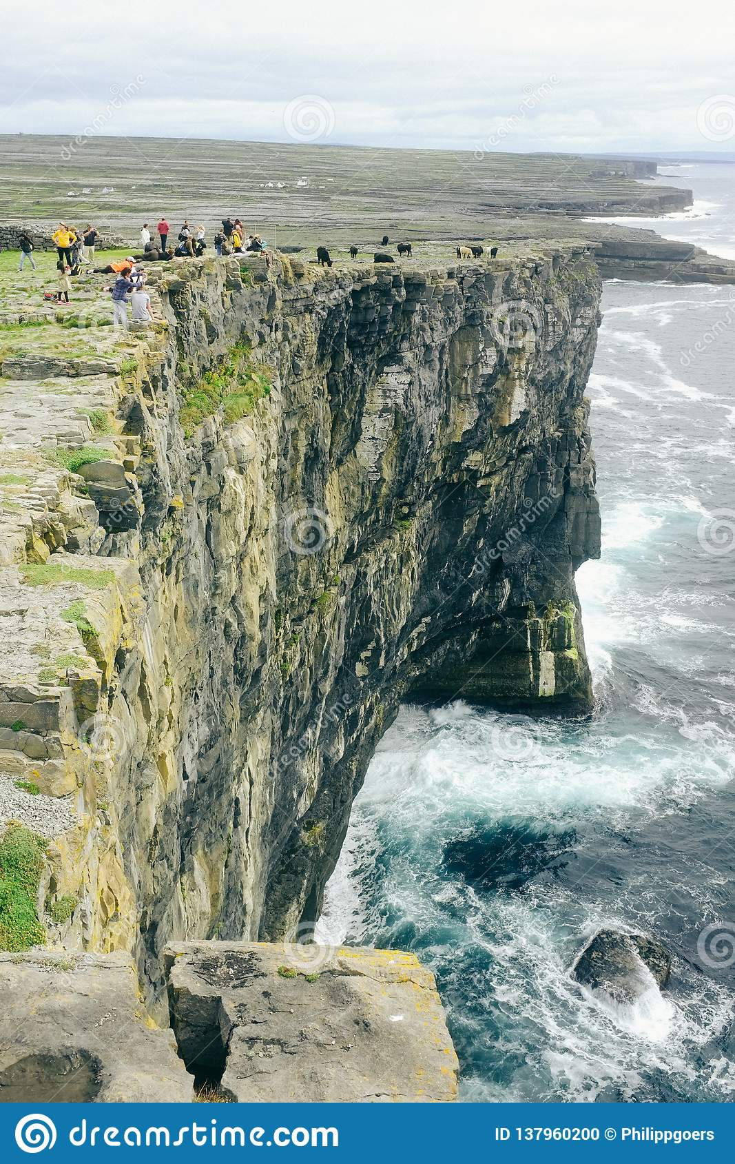 I turisti guardano coraggioso giù una scogliera