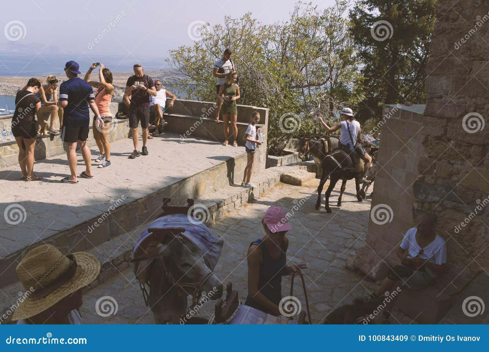 I turisti si rilassano e guidano gli asini in Lindos