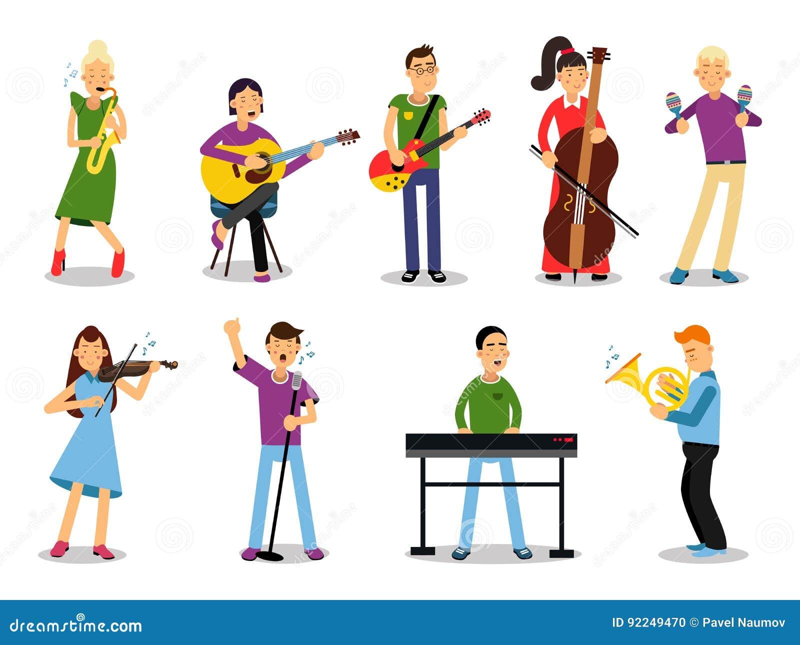I vari musicisti, caratteri nello stile piano vector l illustrazione