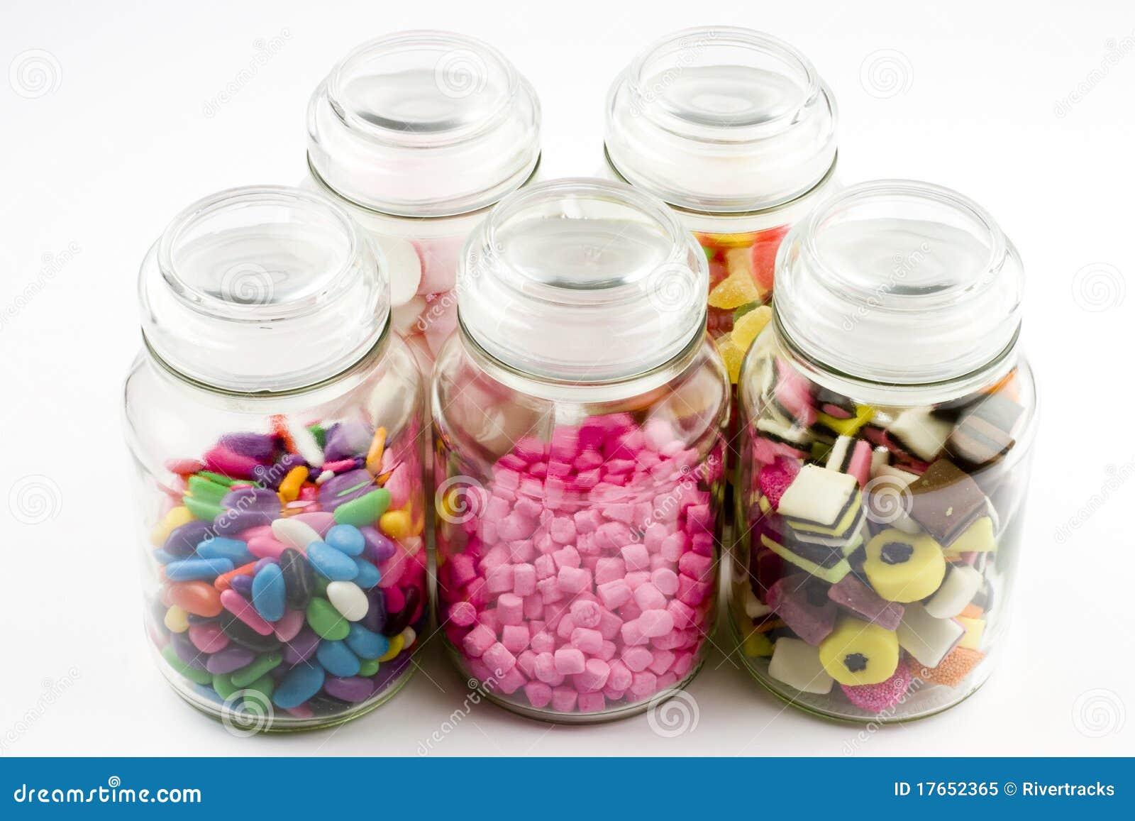 I vasi di vetro hanno riempito di caramella immagine stock for Vasi ermetici vetro