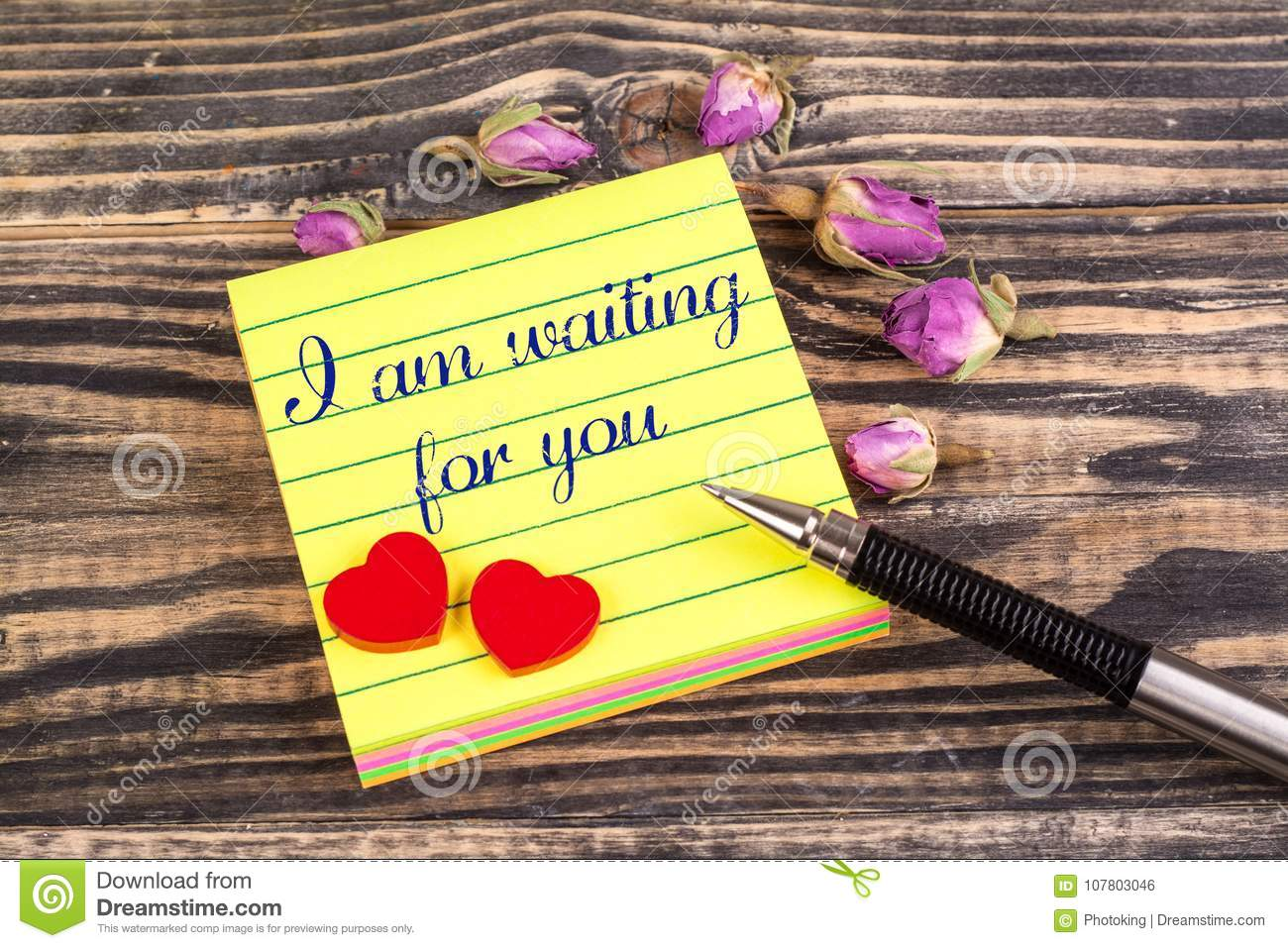 I Am Waiting For You Note Stock Photo Image Of Crafted 107803046