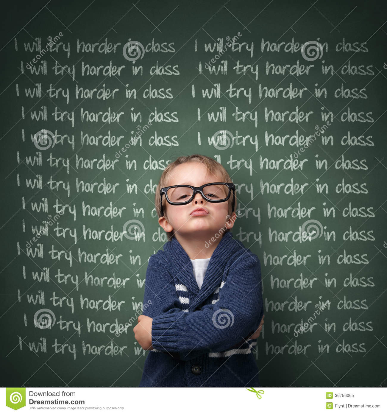 Naughty schoolboy with lines written on a blackboard reading I will ...