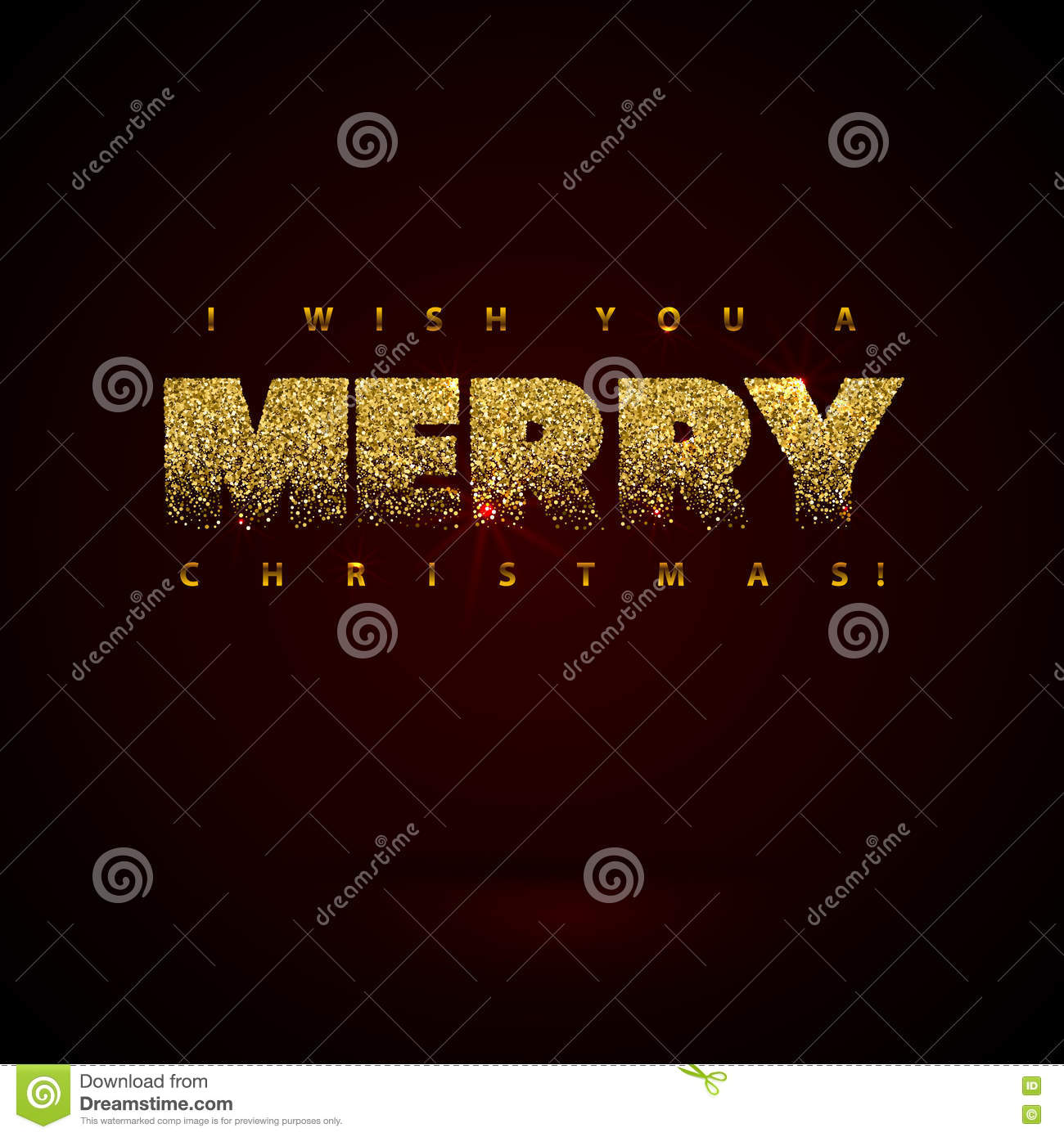 I Wish You A Merry Christmas Card Gold Sparkles On Black Background