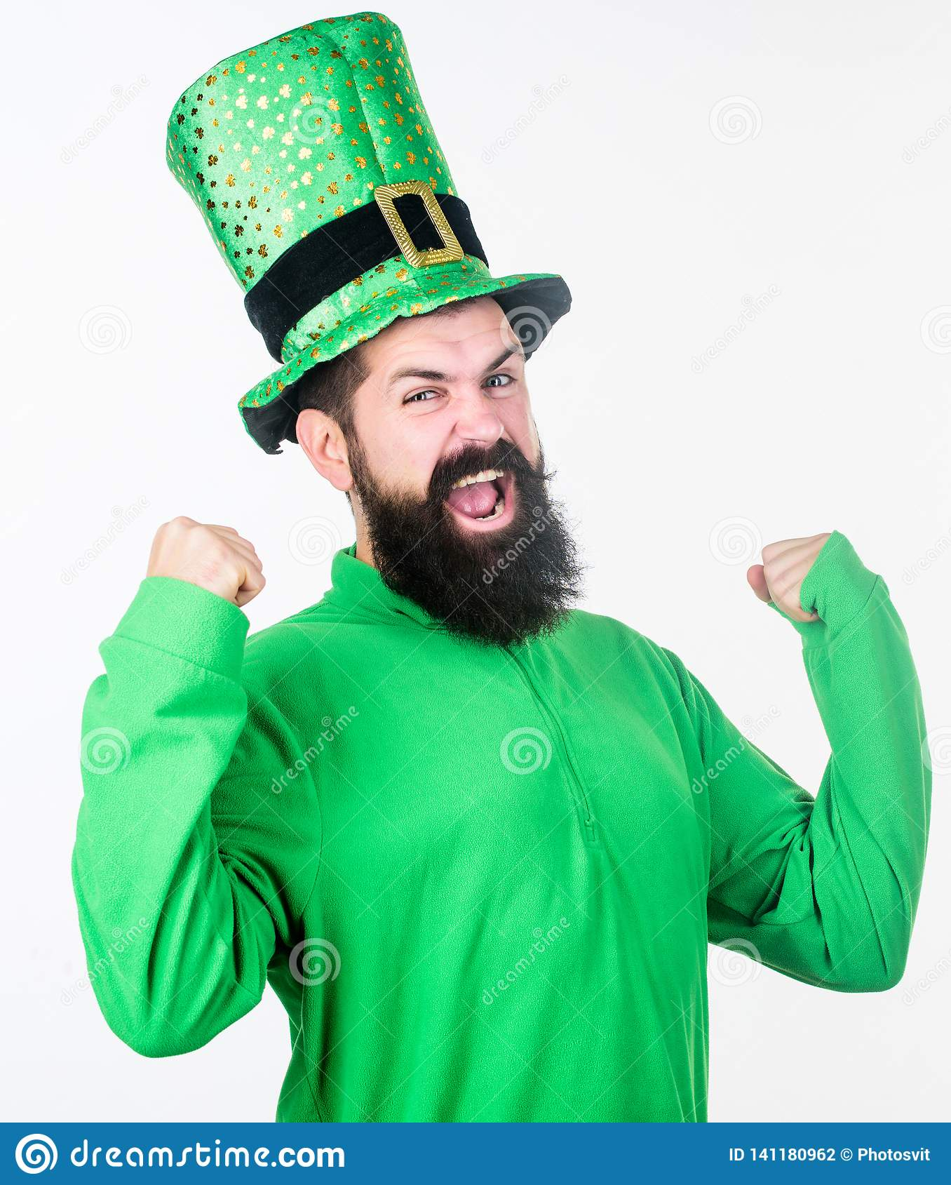 baf68ef6aa I Am Your Paddy. Hipster In Leprechaun Hat And Costume Flexing His ...