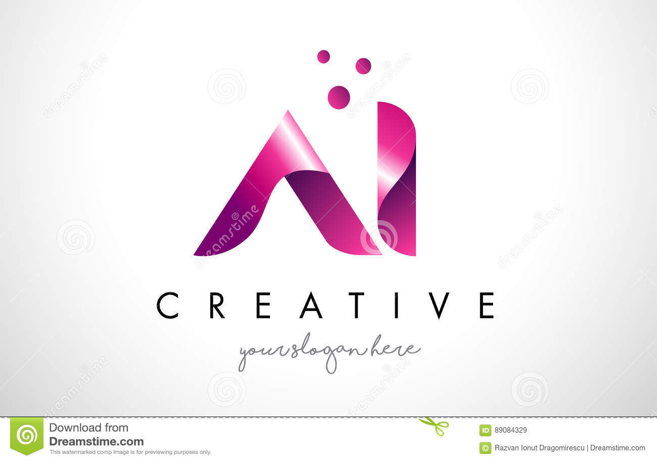 IA Letter Logo Design With Purple Colors And Dots Stock Vector ... for Logo Design Samples Free Download  117dqh