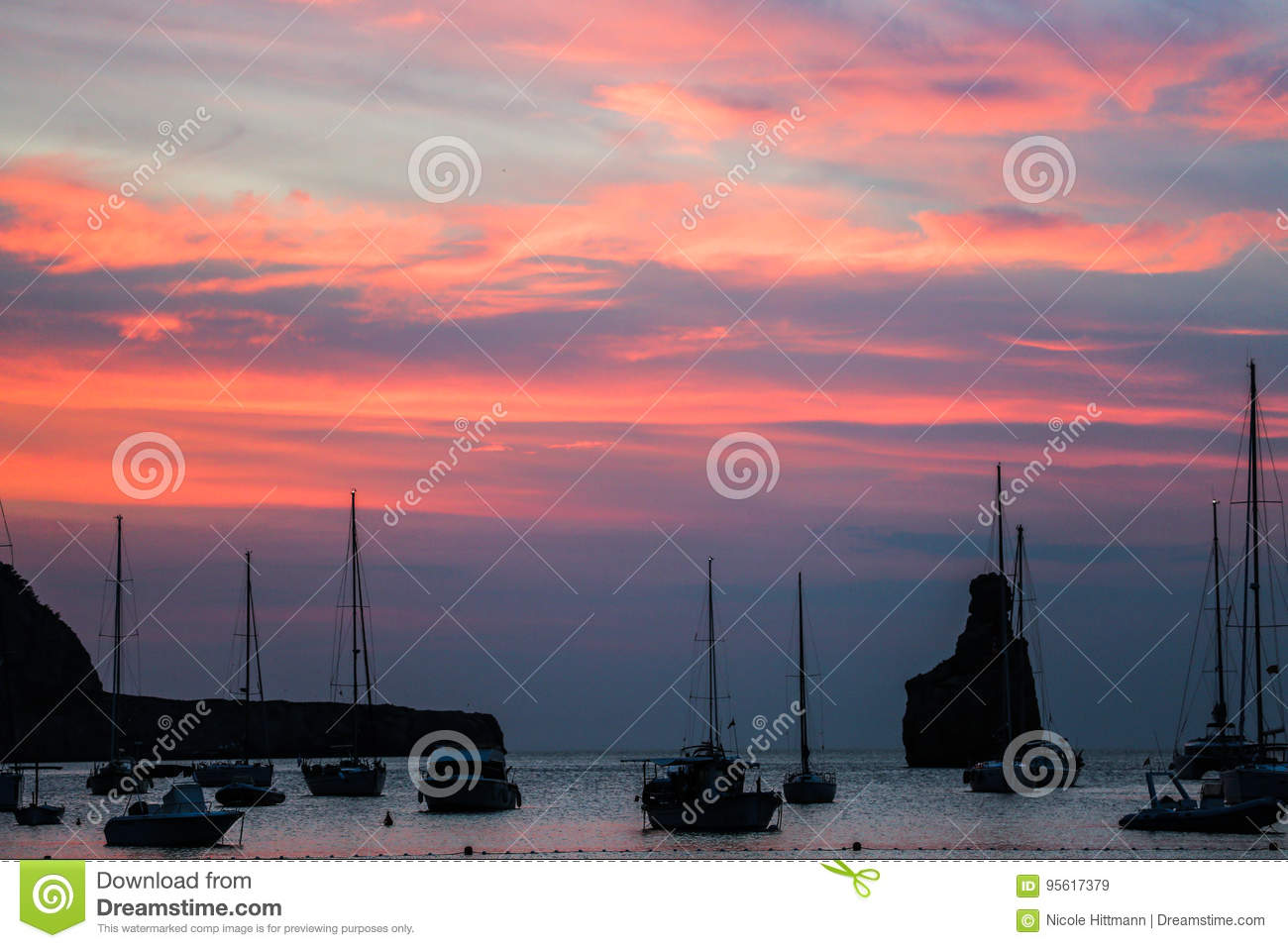 Ibiza Benirras Beach Sunset Stock Image - Image of good