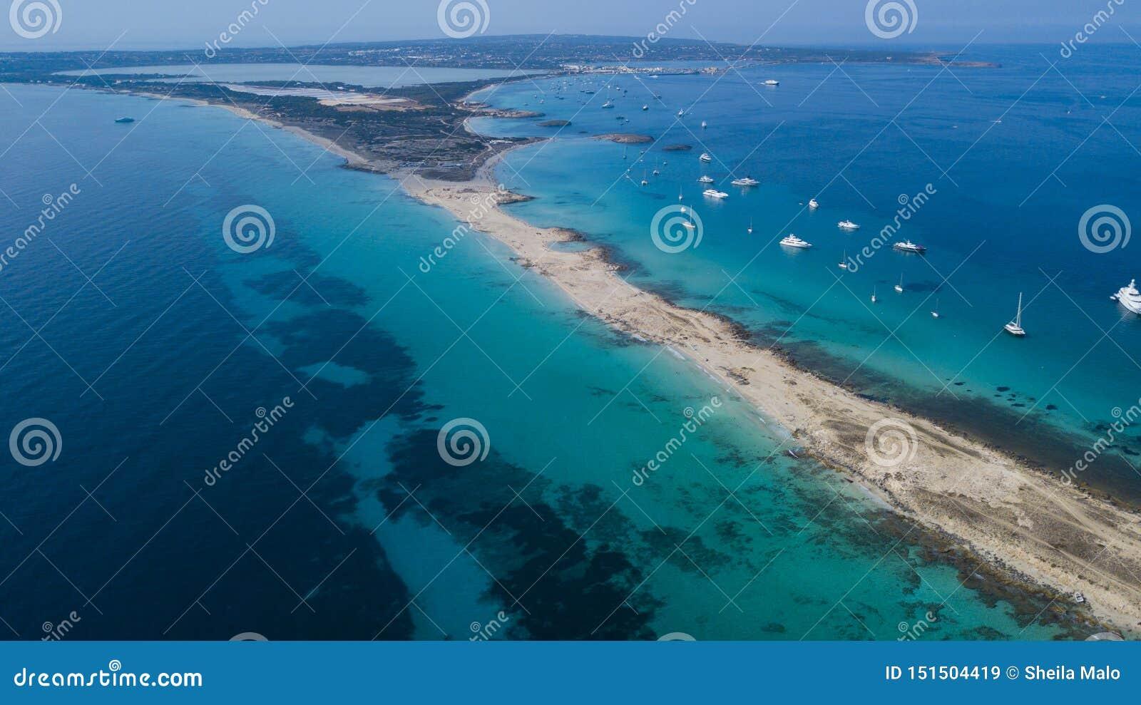 Ibiza Paradise Island From Above Stock Image - Image of