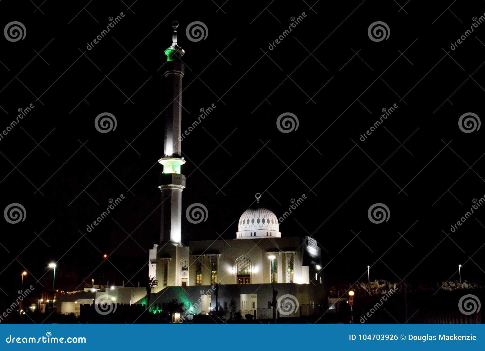 Ibrahim Al Ibrahim Mosque Gibraltar At Night Editorial Photo