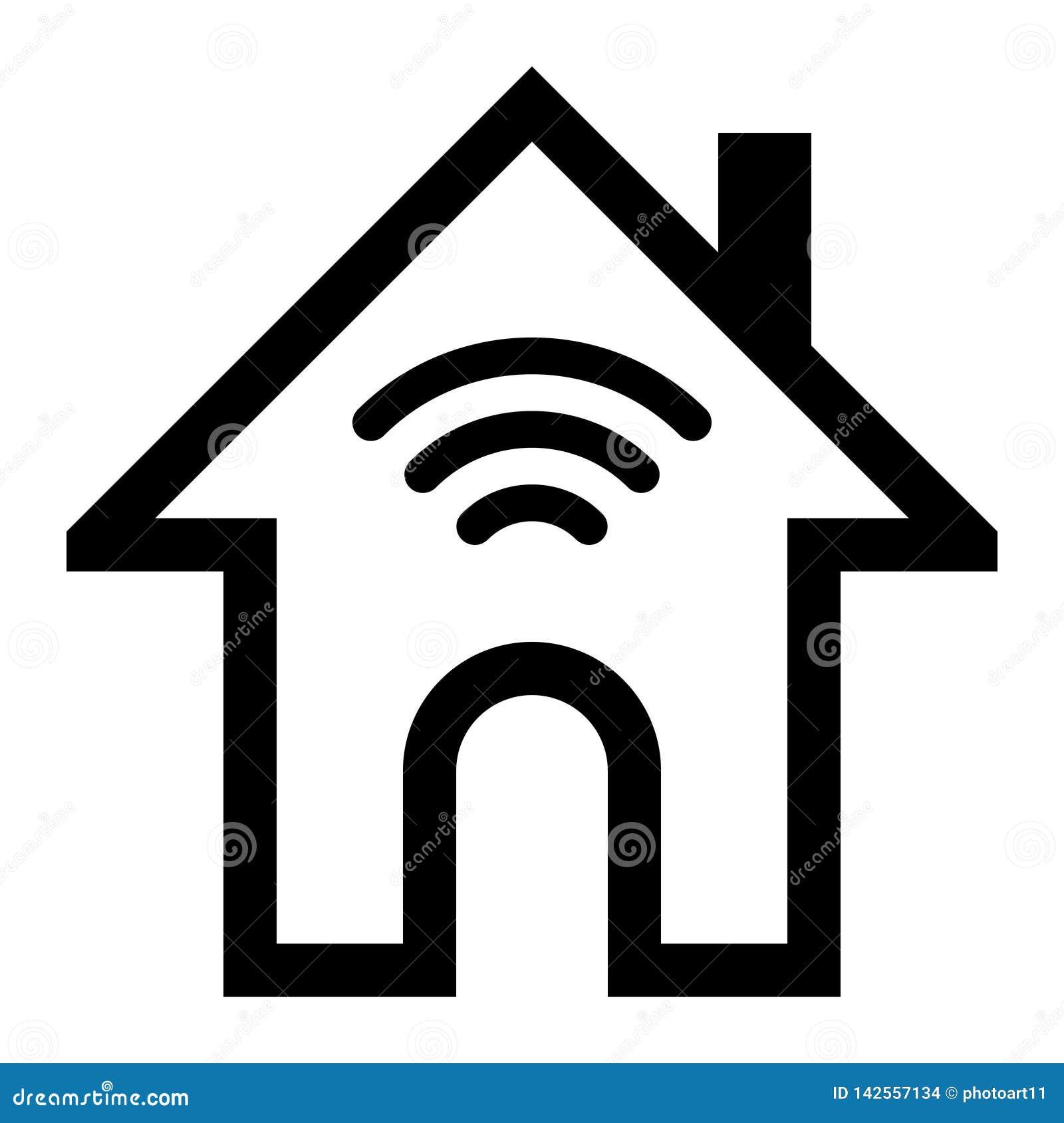 Icône à La Maison De Symbole De Wifi Contour Simple Noir