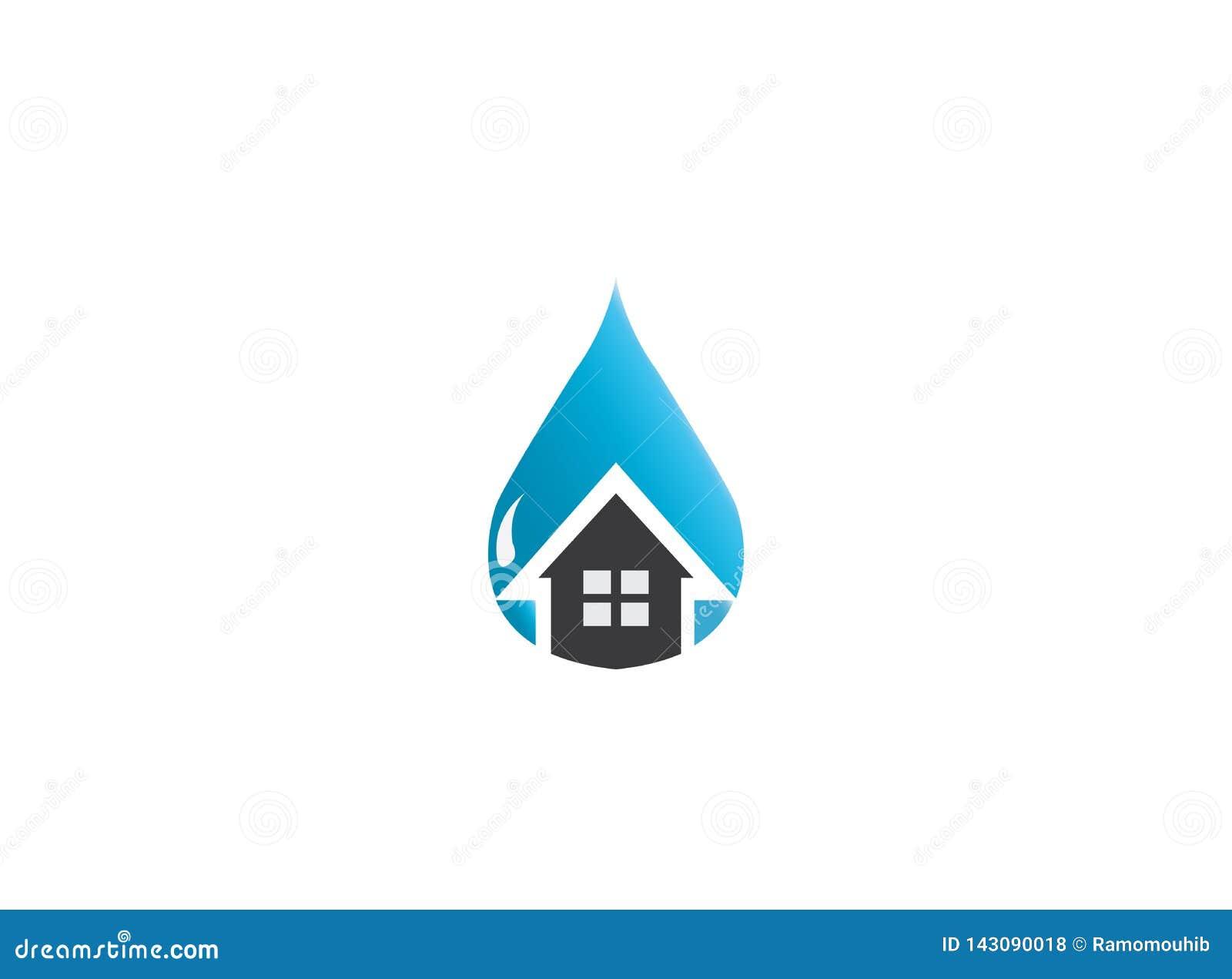 Icône à la maison à l intérieur d une goutte de l eau pour la réparation de maison sanitaire, conception de logo