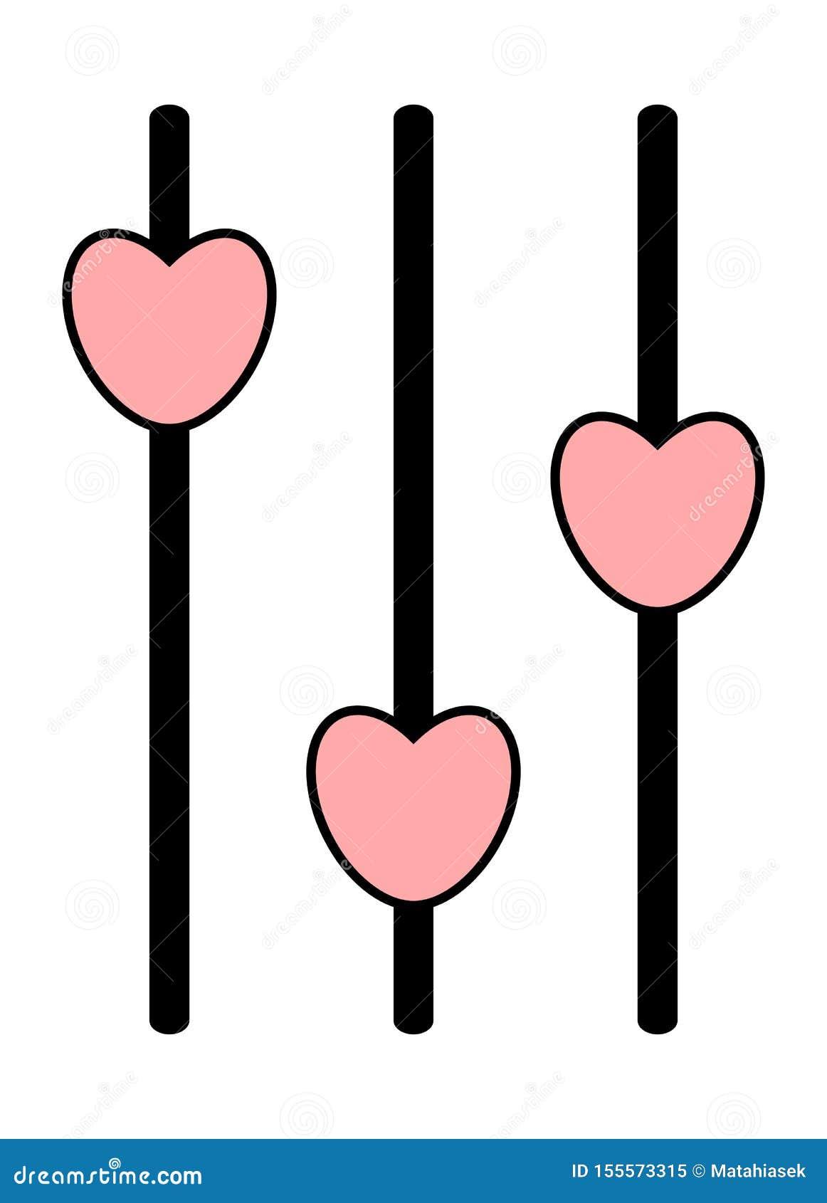 Icône analogue de mixeur son Panneau de commande avec les glisseurs roses de coeur