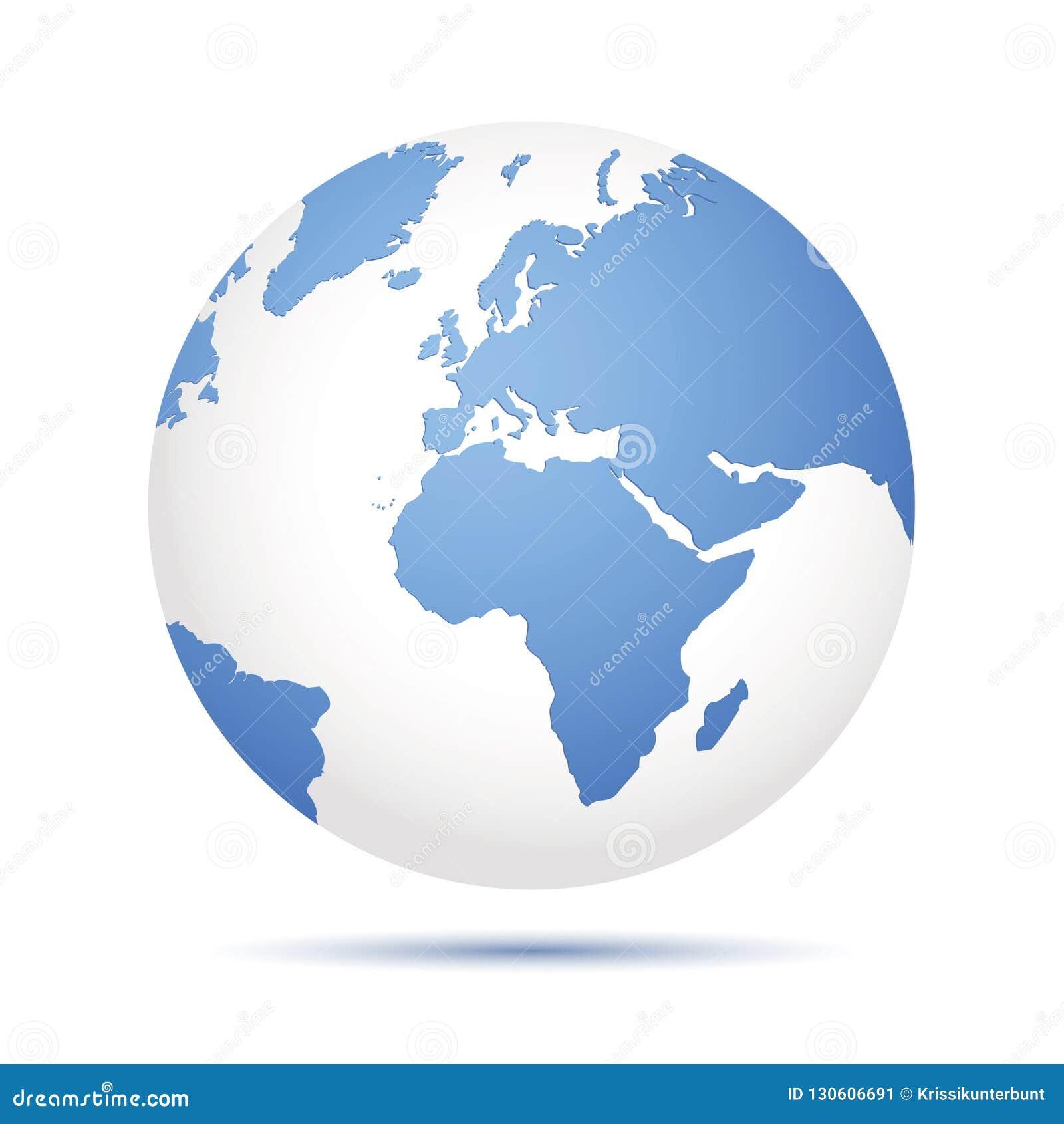 Icône bleue de la terre d isolement sur le fond blanc
