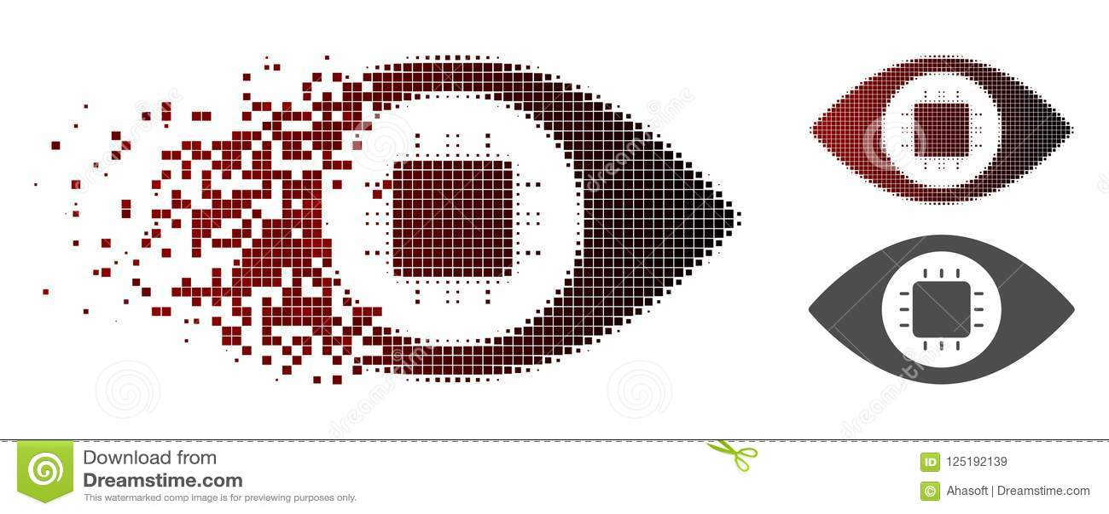 Icône cassée de Dot Halftone Bionic Eye Circuit