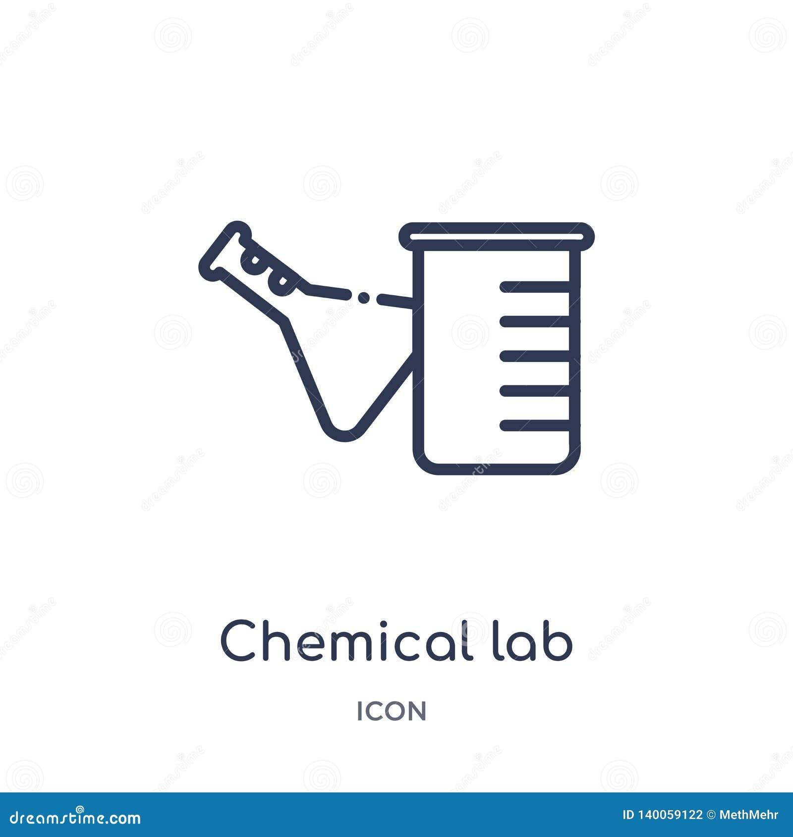 Icône chimique linéaire de laboratoire de collection d ensemble général Ligne mince icône chimique de laboratoire d isolement sur