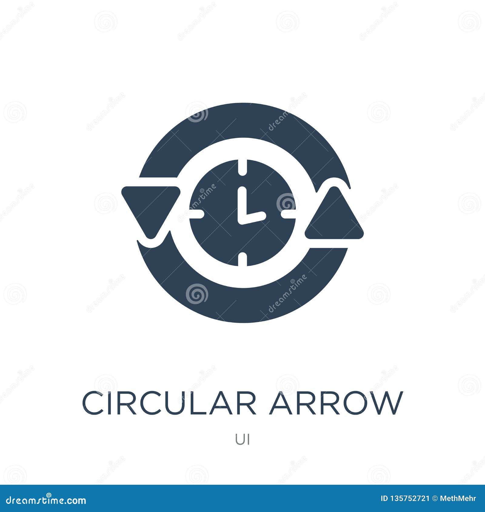 Icône circulaire d horloge de flèche dans le style à la mode de conception icône circulaire d horloge de flèche d isolement sur l