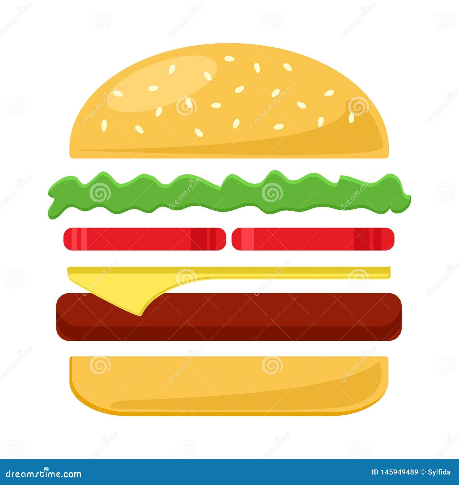 Icône colorée de cheeseburger Illustration de vecteur