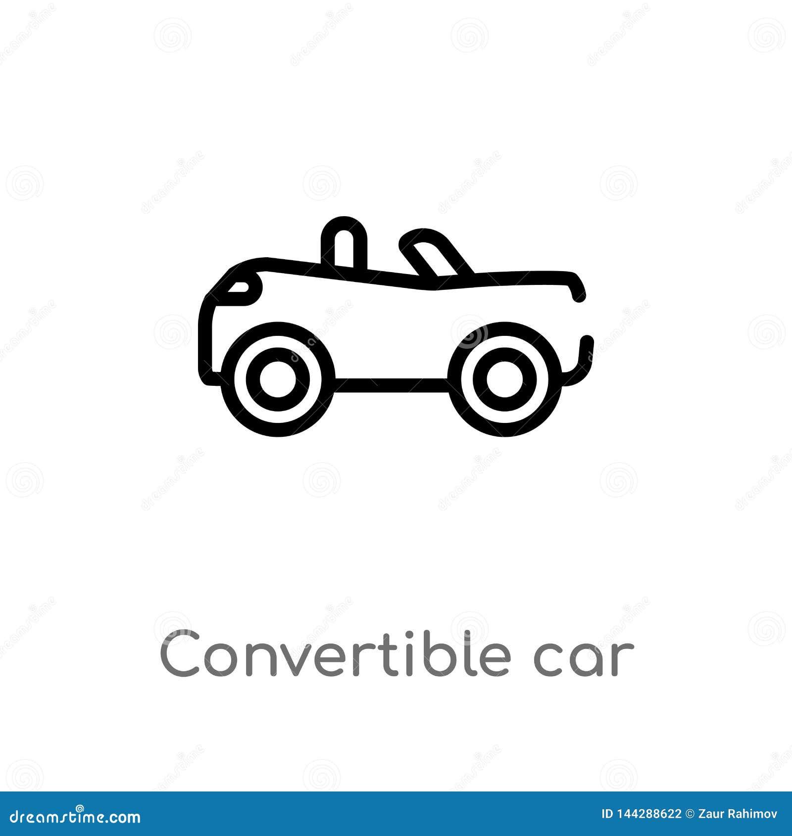 Icône convertible de vecteur de voiture d ensemble ligne simple noire d isolement illustration d ?l?ment de concept de mechanicon