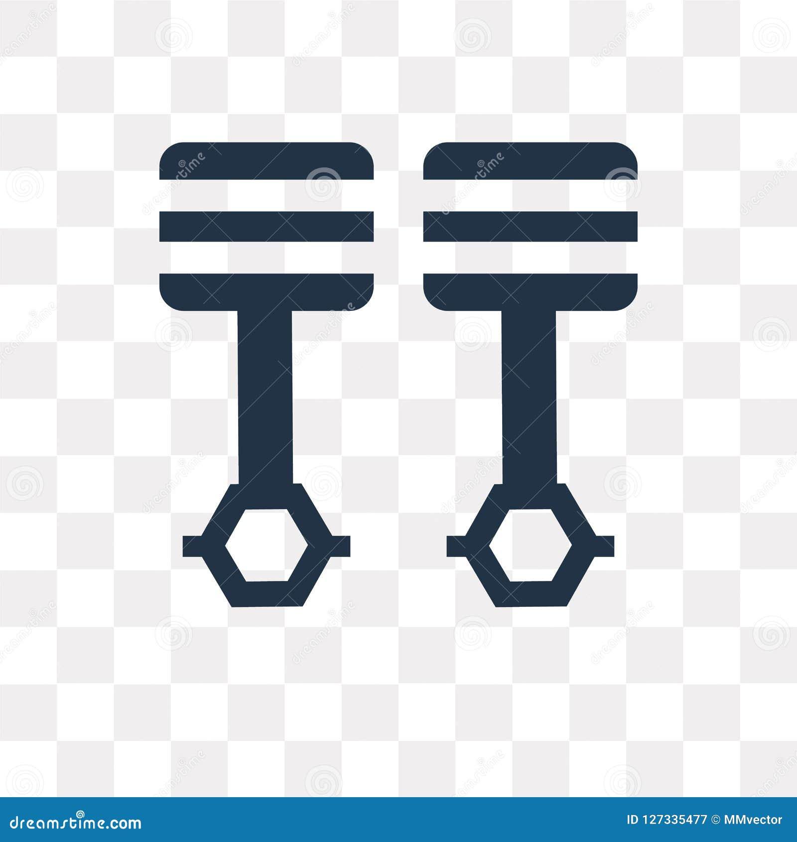 Icône croisée de vecteur de pistons d isolement sur le fond transparent, pi