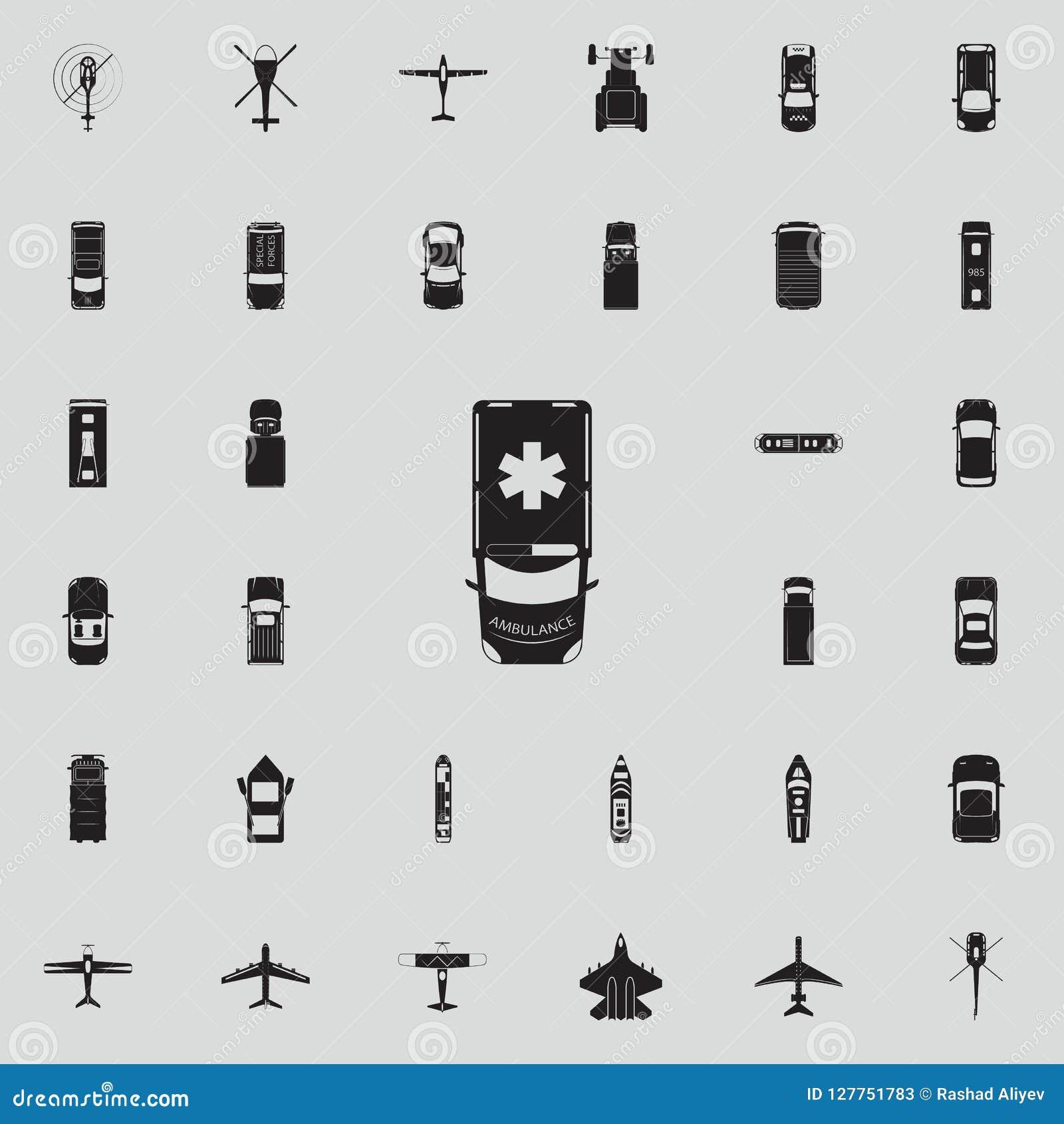 Icône d ambulance Transportez la vue de l ensemble universel d icônes ci-dessus pour le Web et le mobile