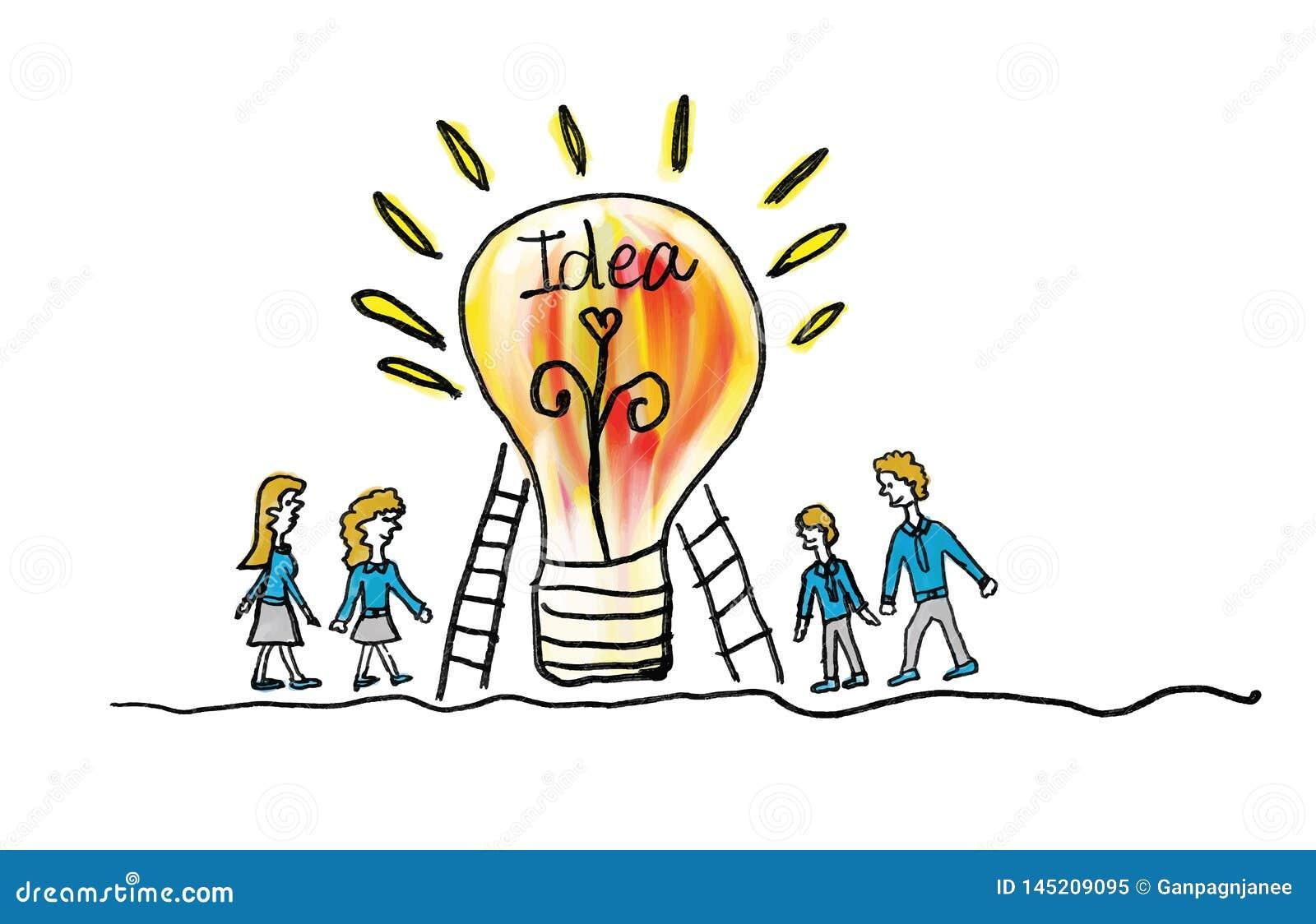 Icône d ampoule avec l illustration de vecteur d homme d affaires et de femme d affaires concept créatif d idée, concept de tr