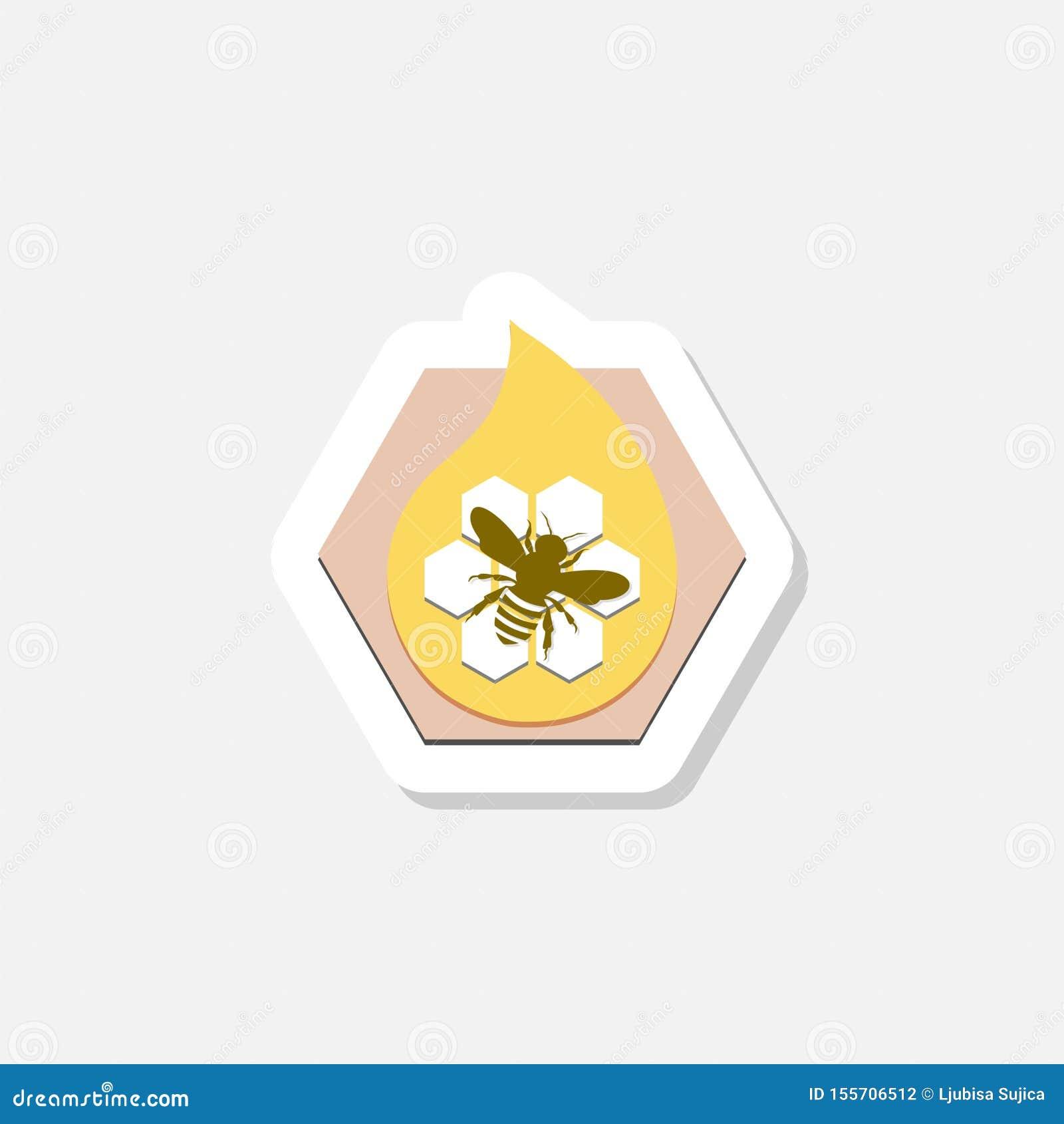 Icône d autocollant de peigne de miel avec l abeille