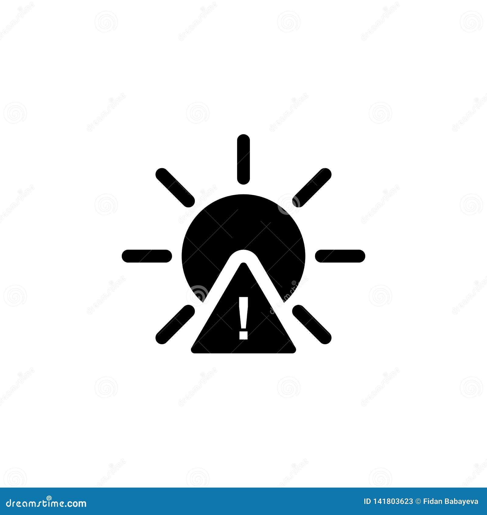 Icône d avertissement de Sun r Des signes et les symboles peuvent être employés pour le Web, logo, l appli mobile, UI, UX