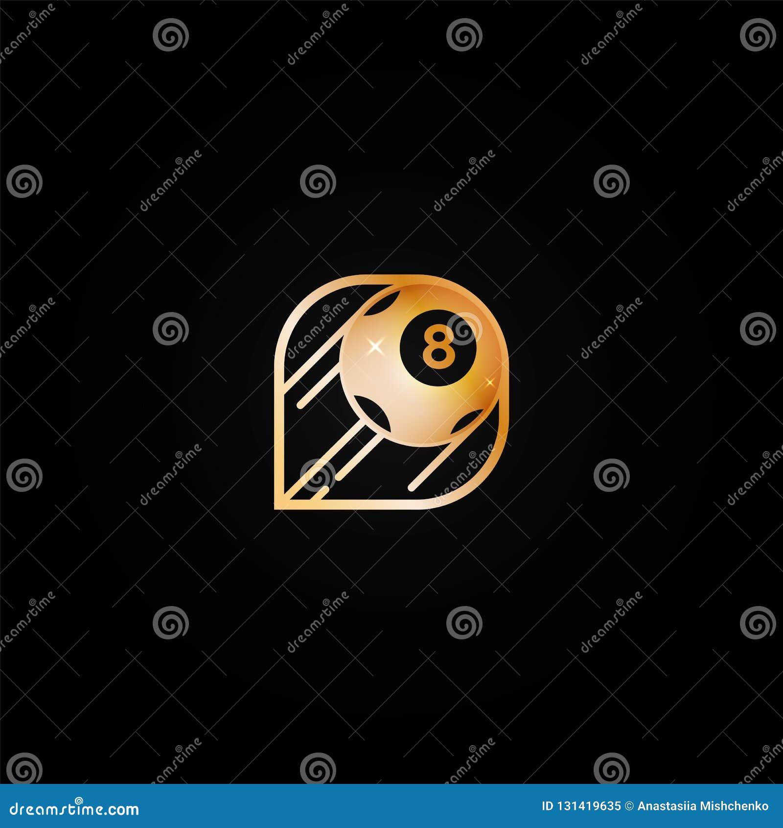 Icône d or brillante lumineuse de logo de casino avec la boule huit