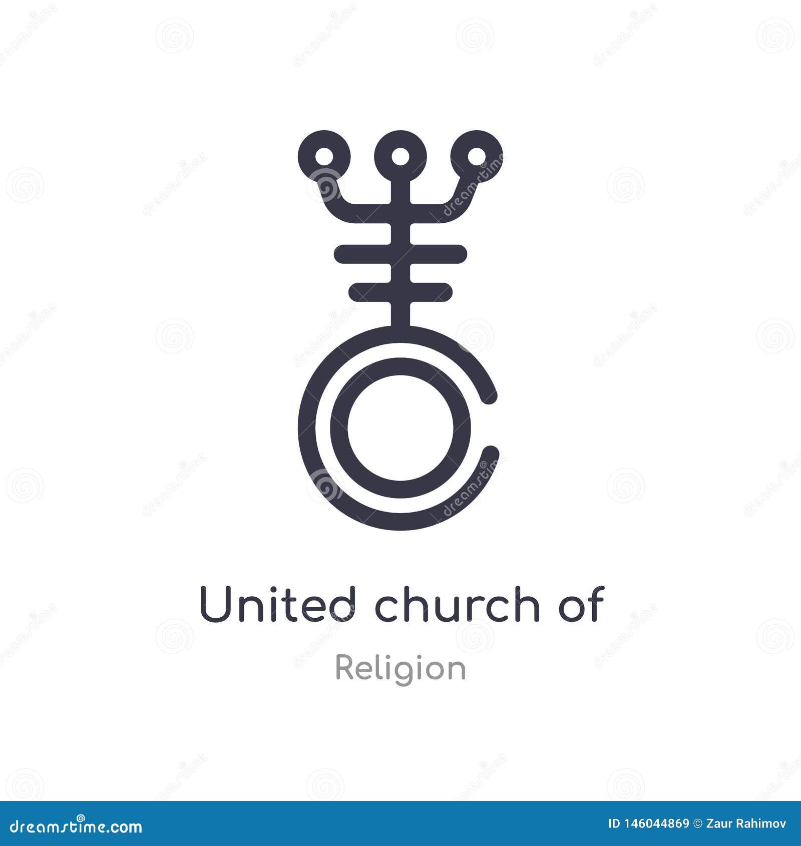 Icône d ensemble d Église Unie du Christ ligne d isolement illustration de vecteur de collection de religion course mince editabl