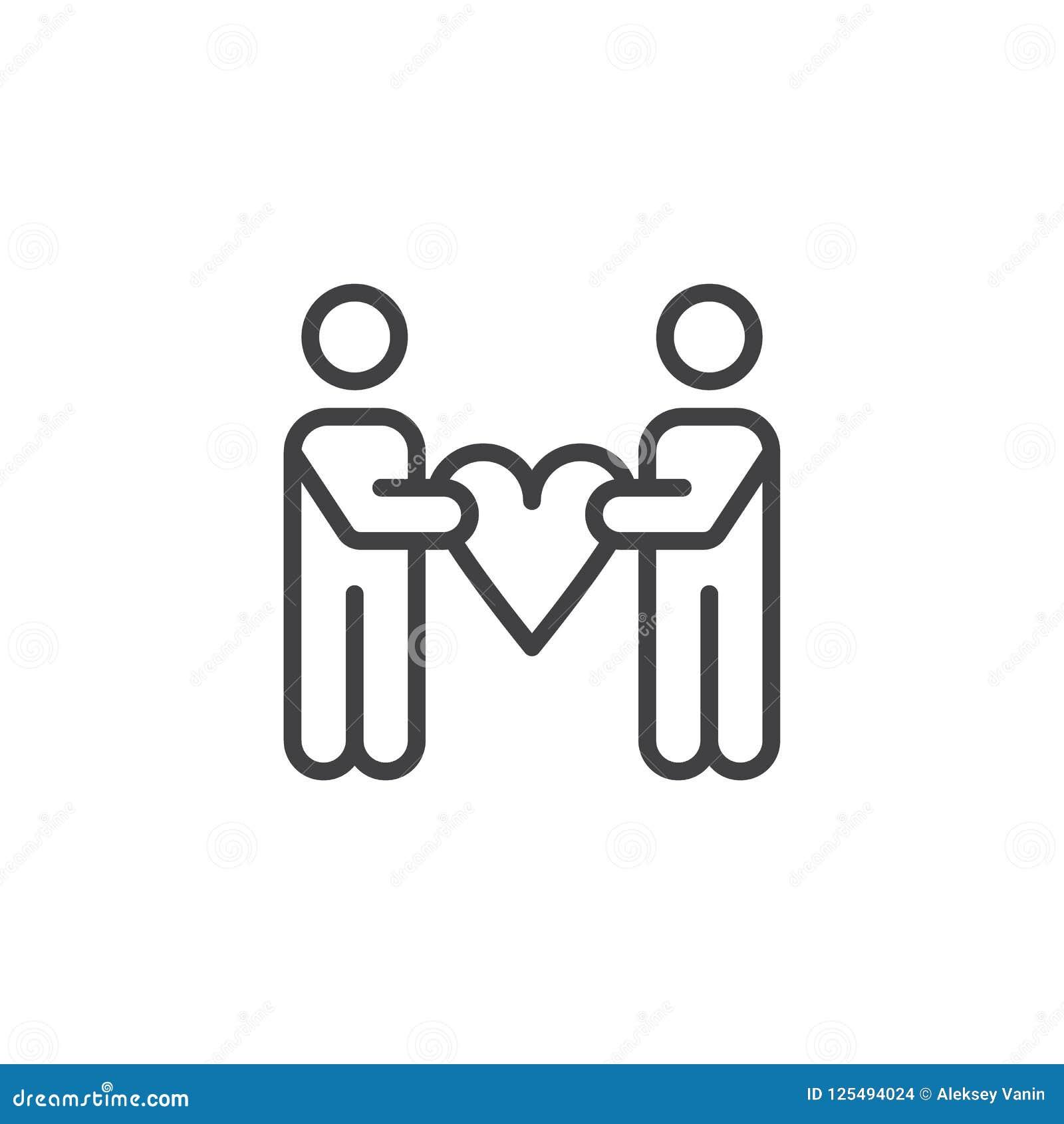 Icône d ensemble de coeur de prise de personnes