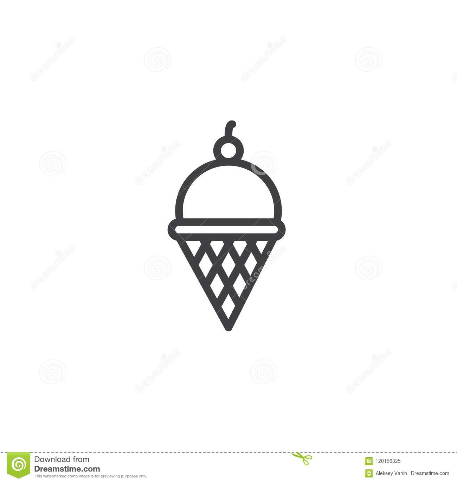 Icône Densemble De Cornet De Crème Glacée De Gaufrette