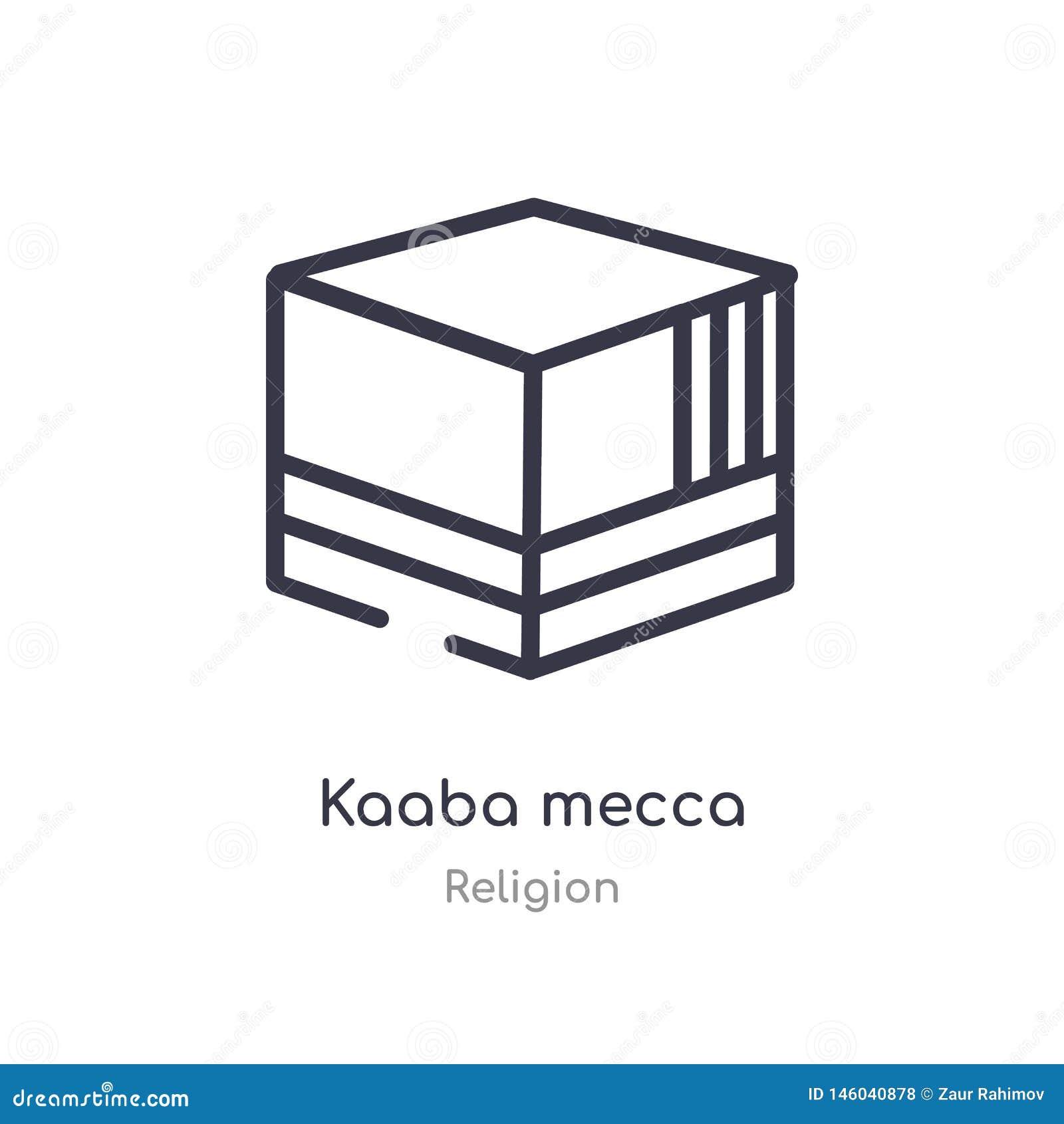 Icône d ensemble de la Mecque de kaaba ligne d isolement illustration de vecteur de collection de religion icône mince editable d