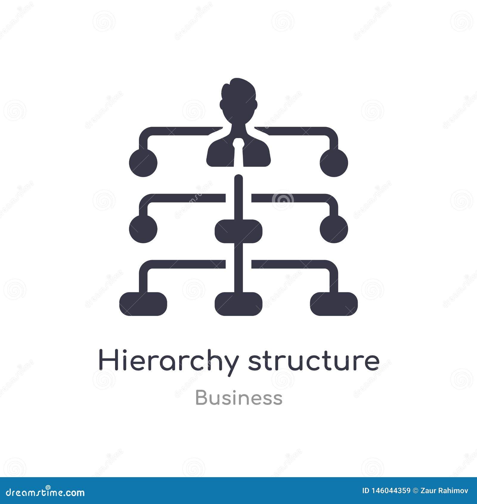 Icône d ensemble de structure de hiérarchie ligne d isolement illustration de vecteur de collection d affaires hiérarchie mince e