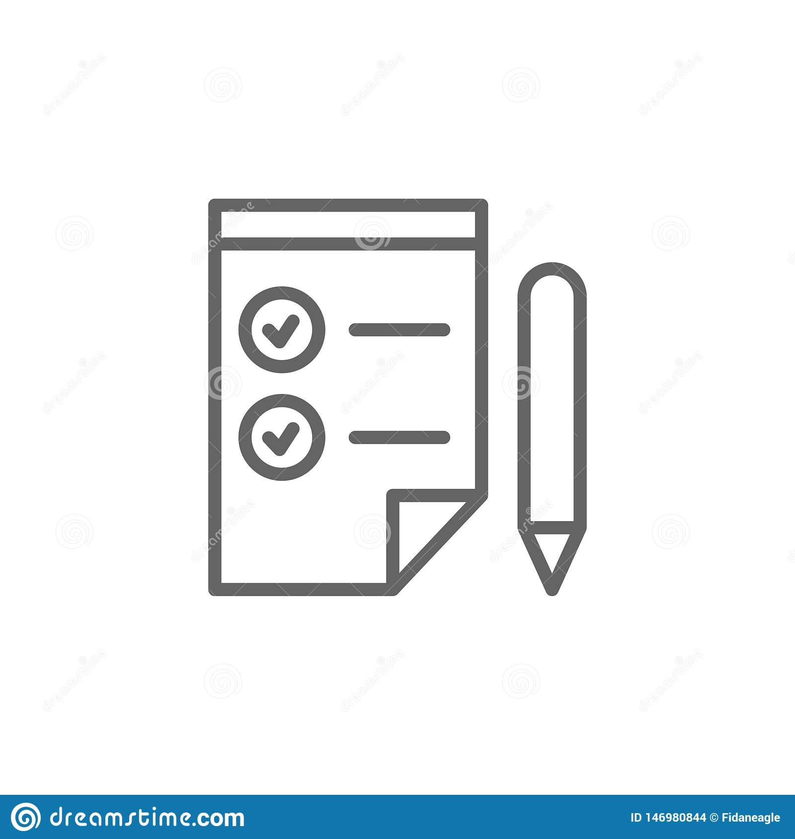 Icône d ensemble de stylo de liste de contrôle ?l?ments de ligne ic?ne d illustration d affaires Des signes et les symboles peuve