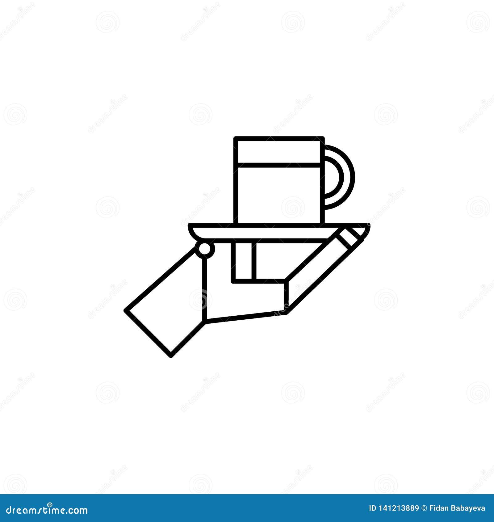 Icône d ensemble de tasse de serveur de robot de robotique Des signes et les symboles peuvent être employés pour le Web, logo, l