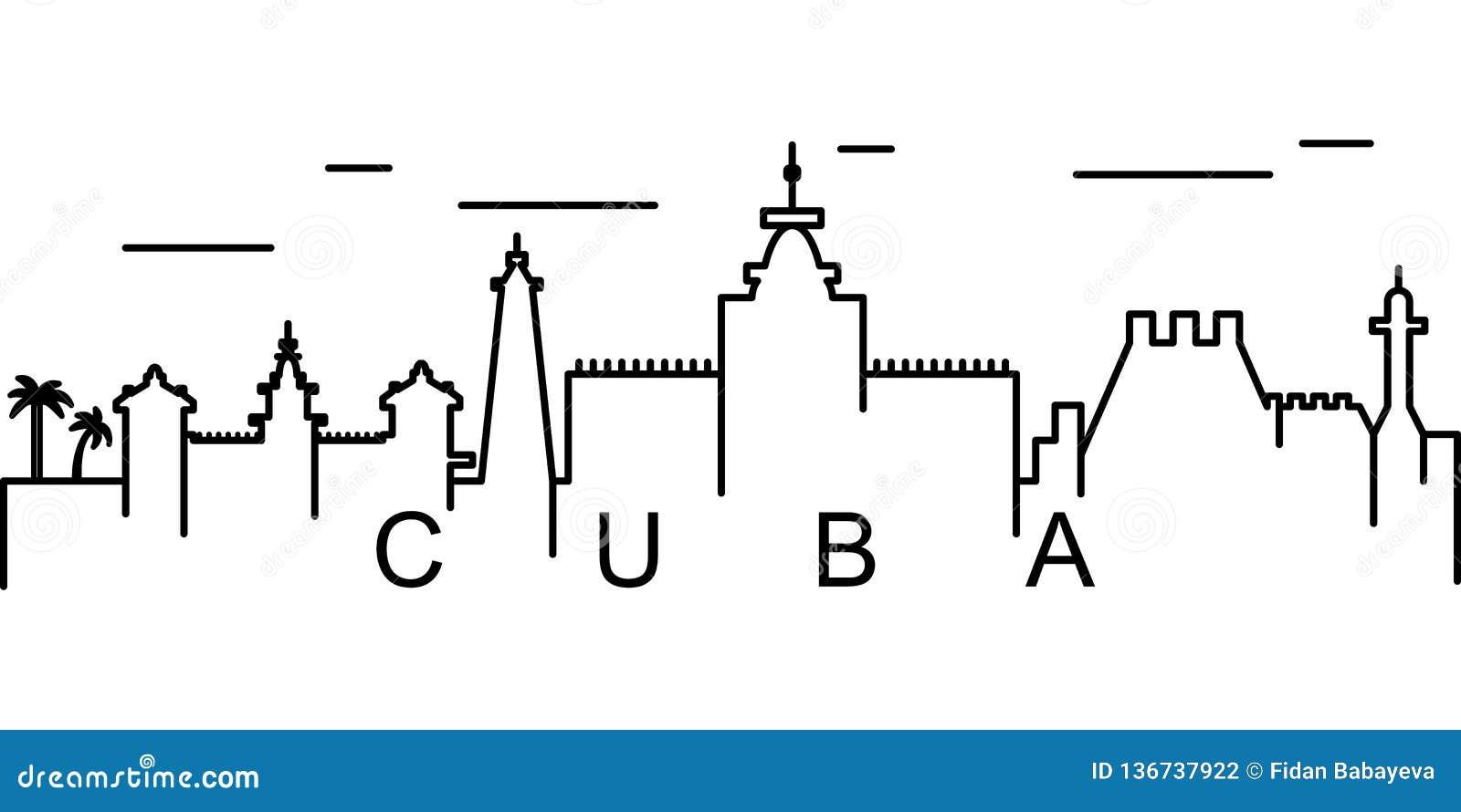 Icône d ensemble du Cuba Peut être employé pour le Web, logo, l appli mobile, UI, UX