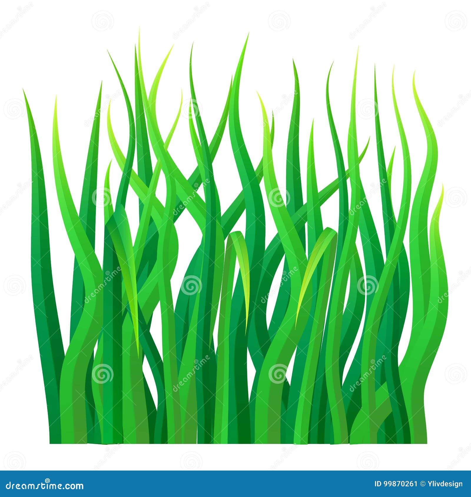 Icône d herbe verte, style réaliste