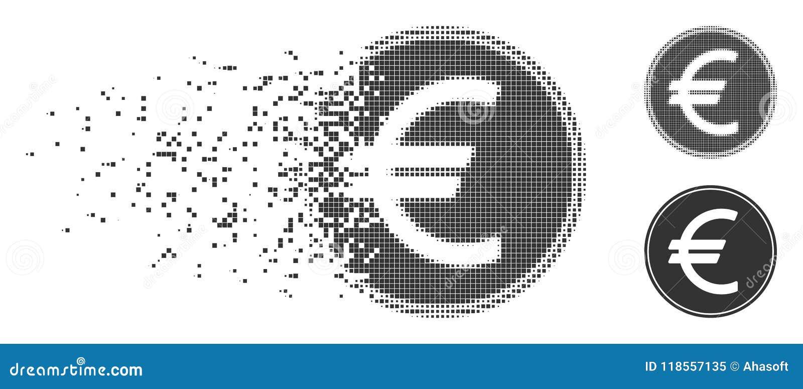 Icône d image tramée de pixel réduite en fragments euro par pièce de monnaie
