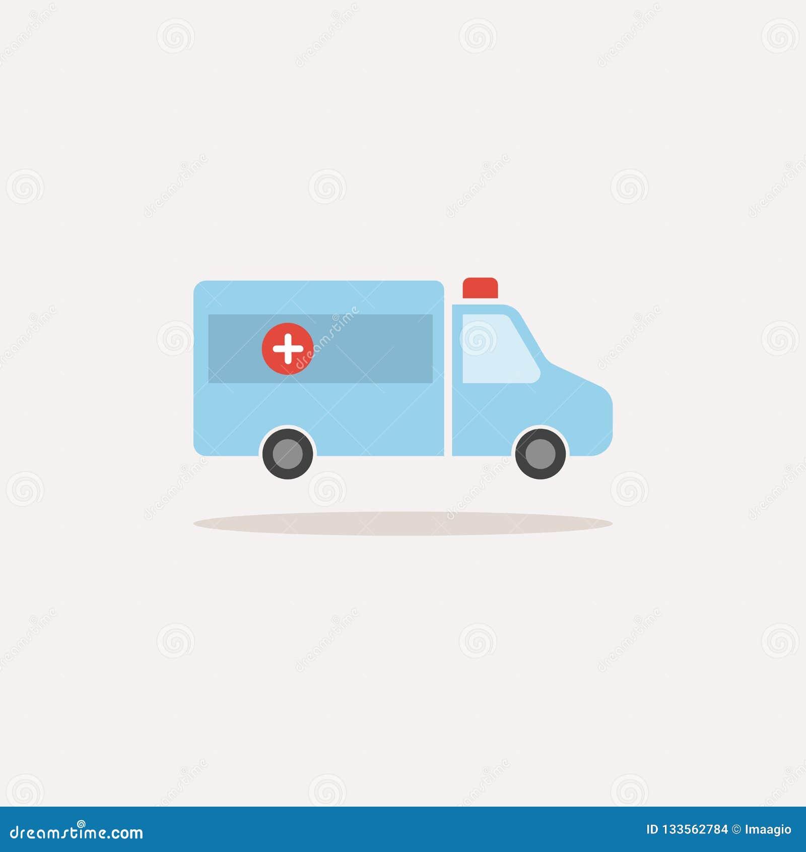 Icône d isolement de couleur d ambulance avec la réflexion