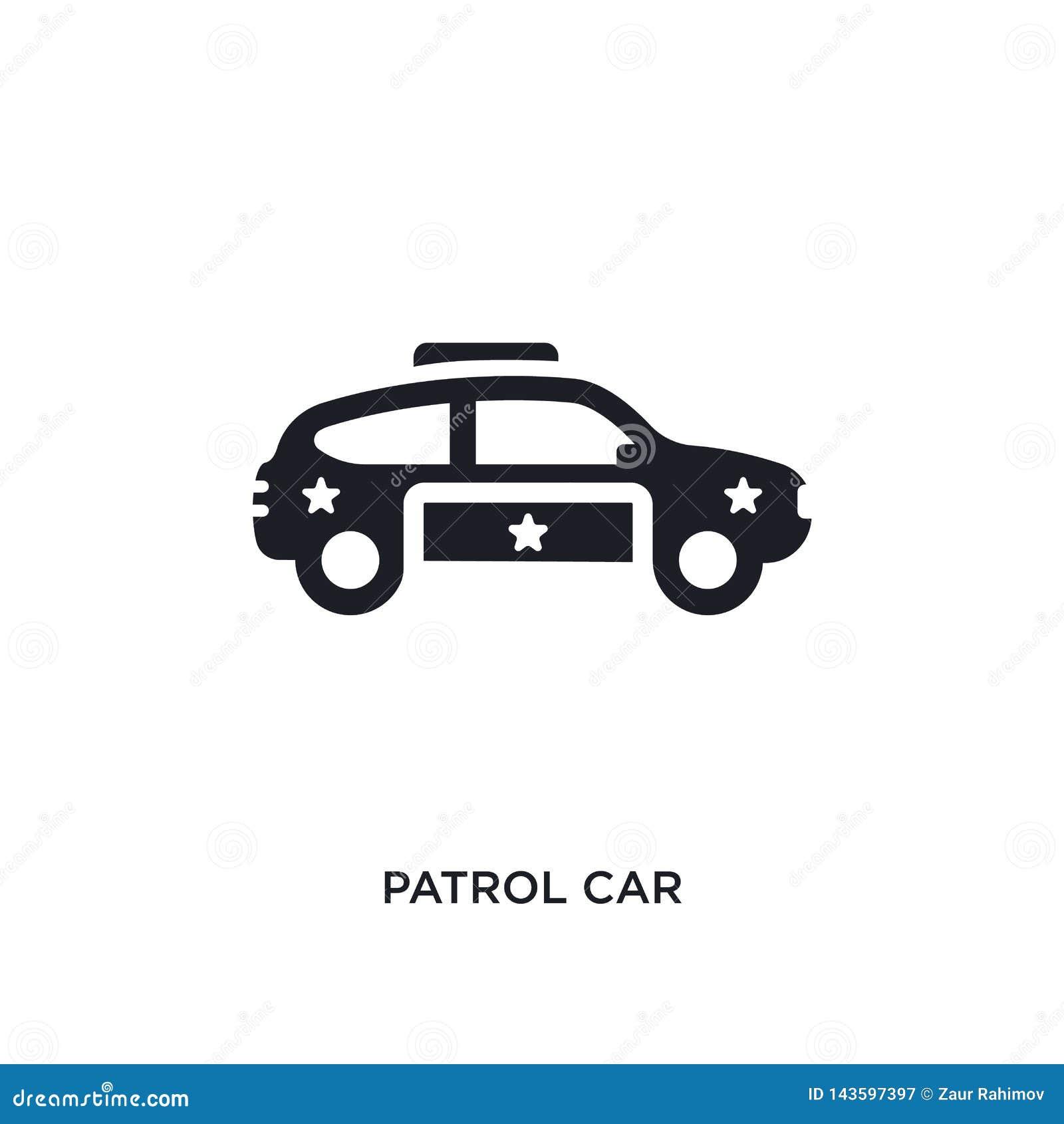 Icône d isolement noire de vecteur de voiture de patrouille illustration simple d élément des icônes de vecteur de concept de tra