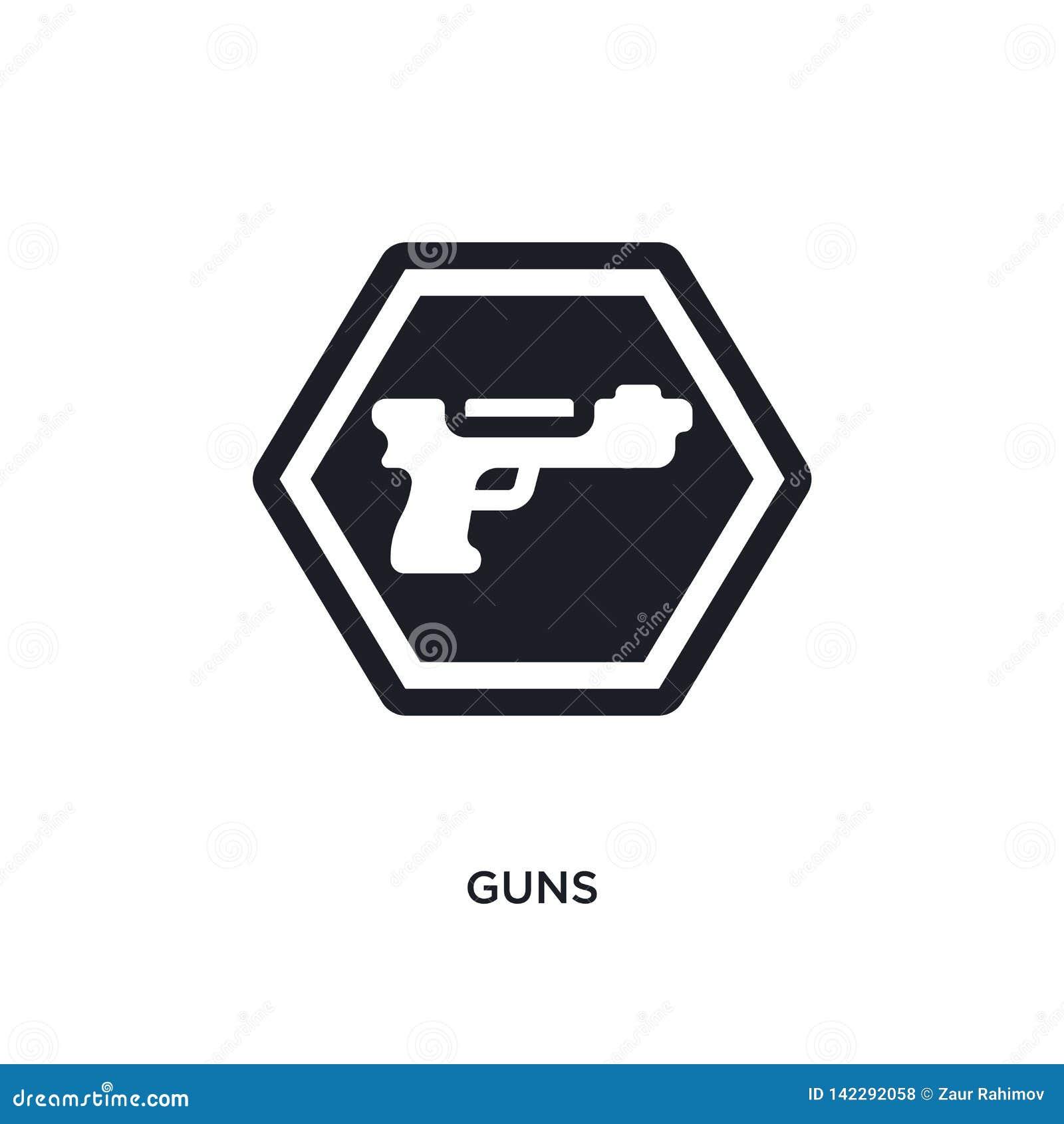 Icône d isolement par armes à feu illustration simple d élément des icônes de concept de signes conception editable de symbole de