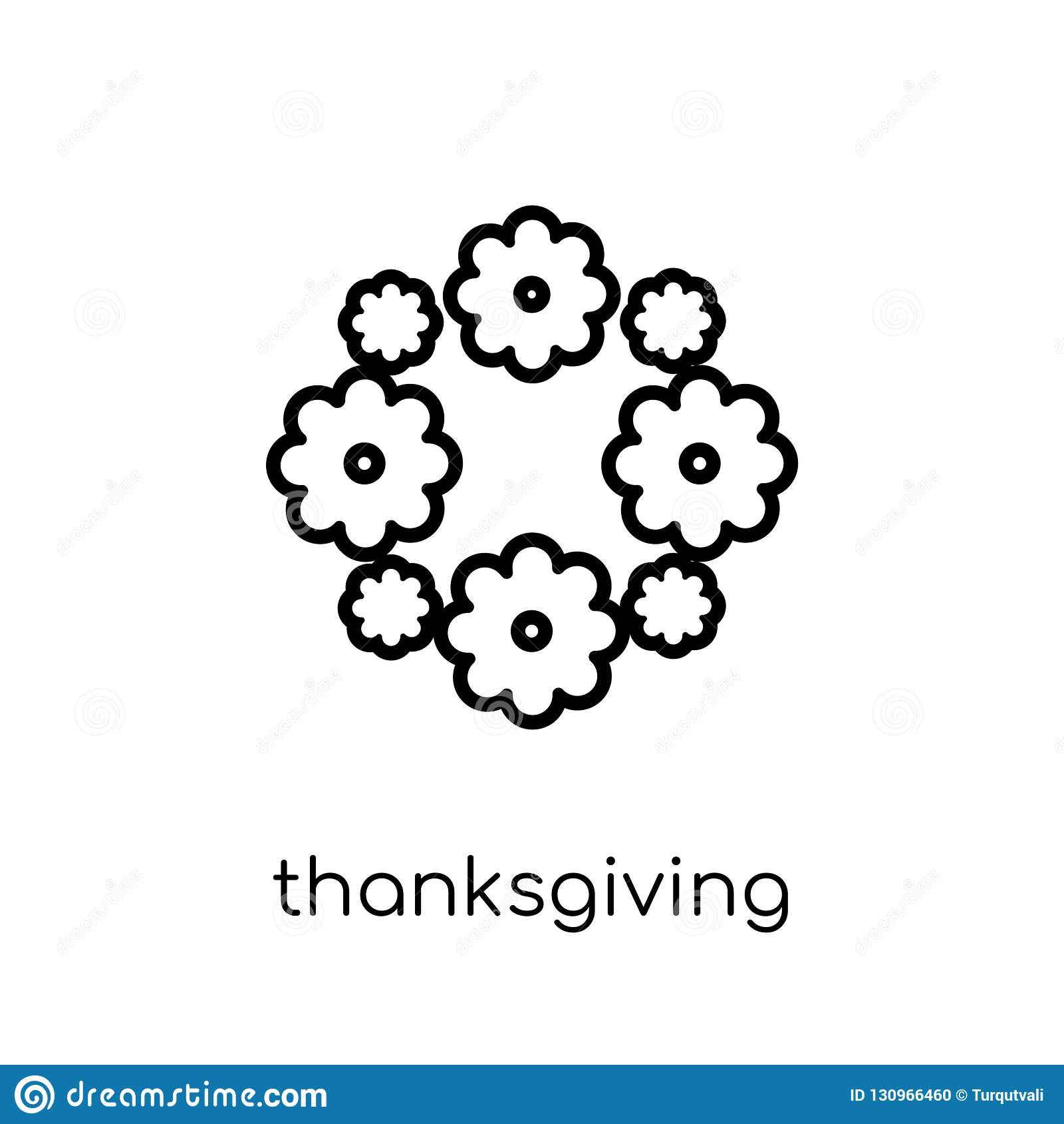 Icône d ornement de thanksgiving Vecteur linéaire plat moderne à la mode Tha