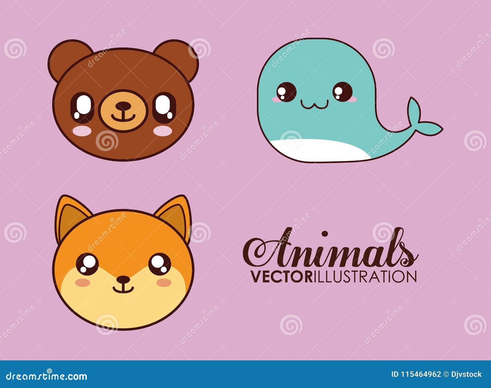 Icône D Ours De Baleine Et De Renard De Kawaii Animal Mignon Dessin