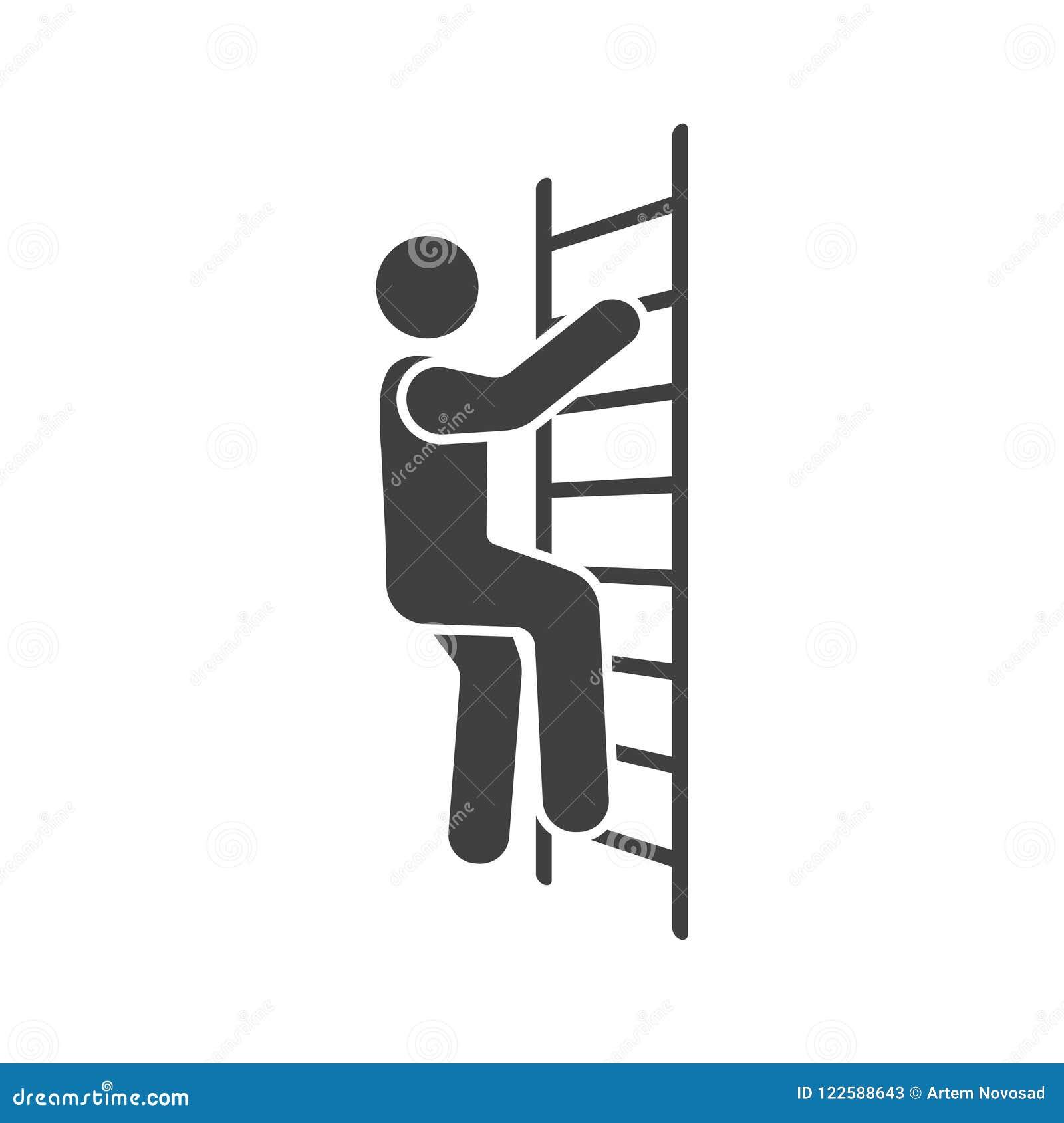 Icône d un homme montant les escaliers Illustration de vecteur sur le fond blanc