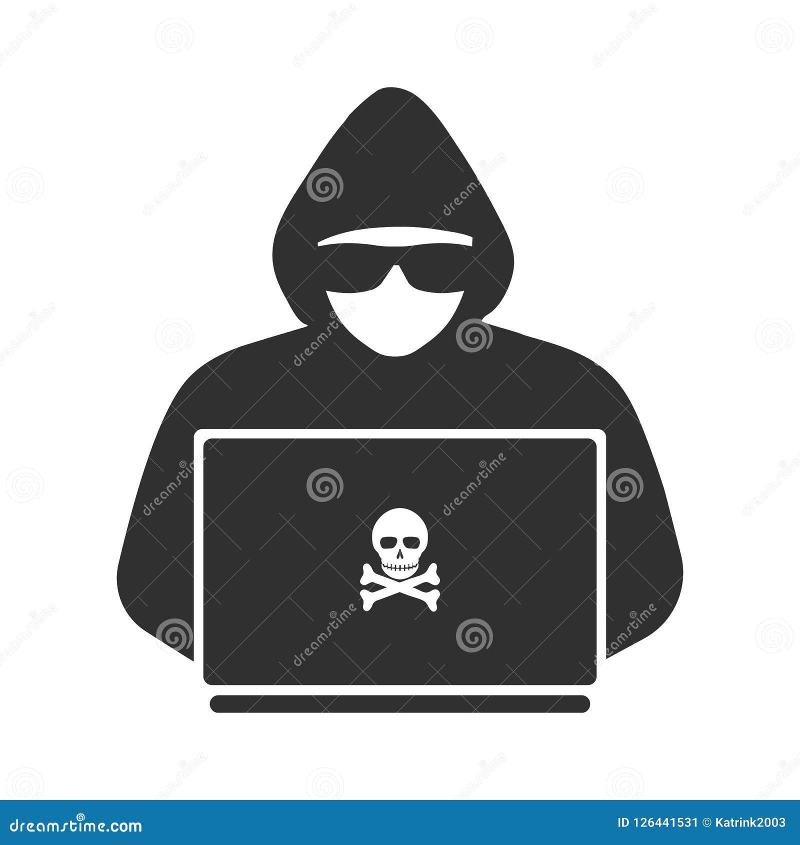 Icône d un pirate informatique avec un ordinateur portable
