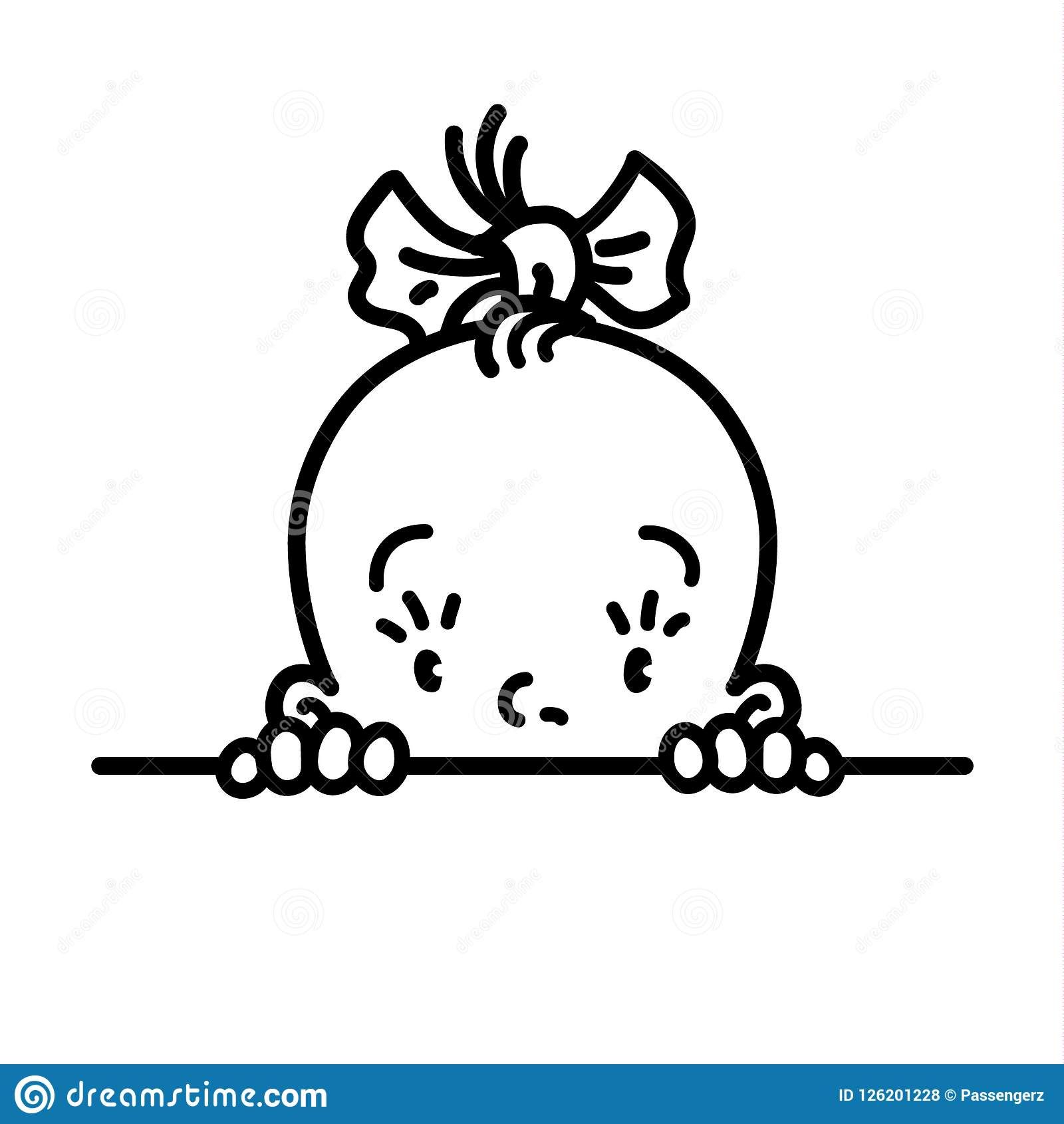 Icône De Bébé Visage De Petite Fille Dessin Au Trait